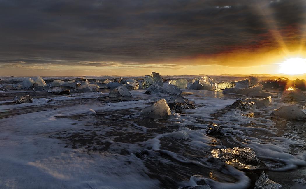 Sun Rising Over Ice