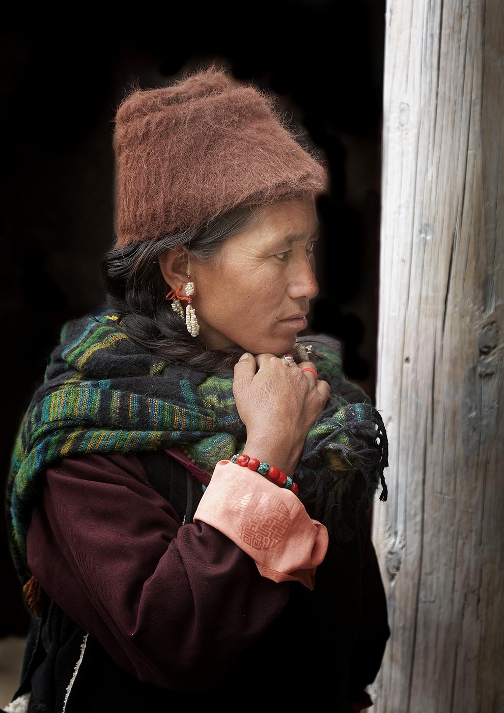Ladakah Woman Doing Daily Tasks