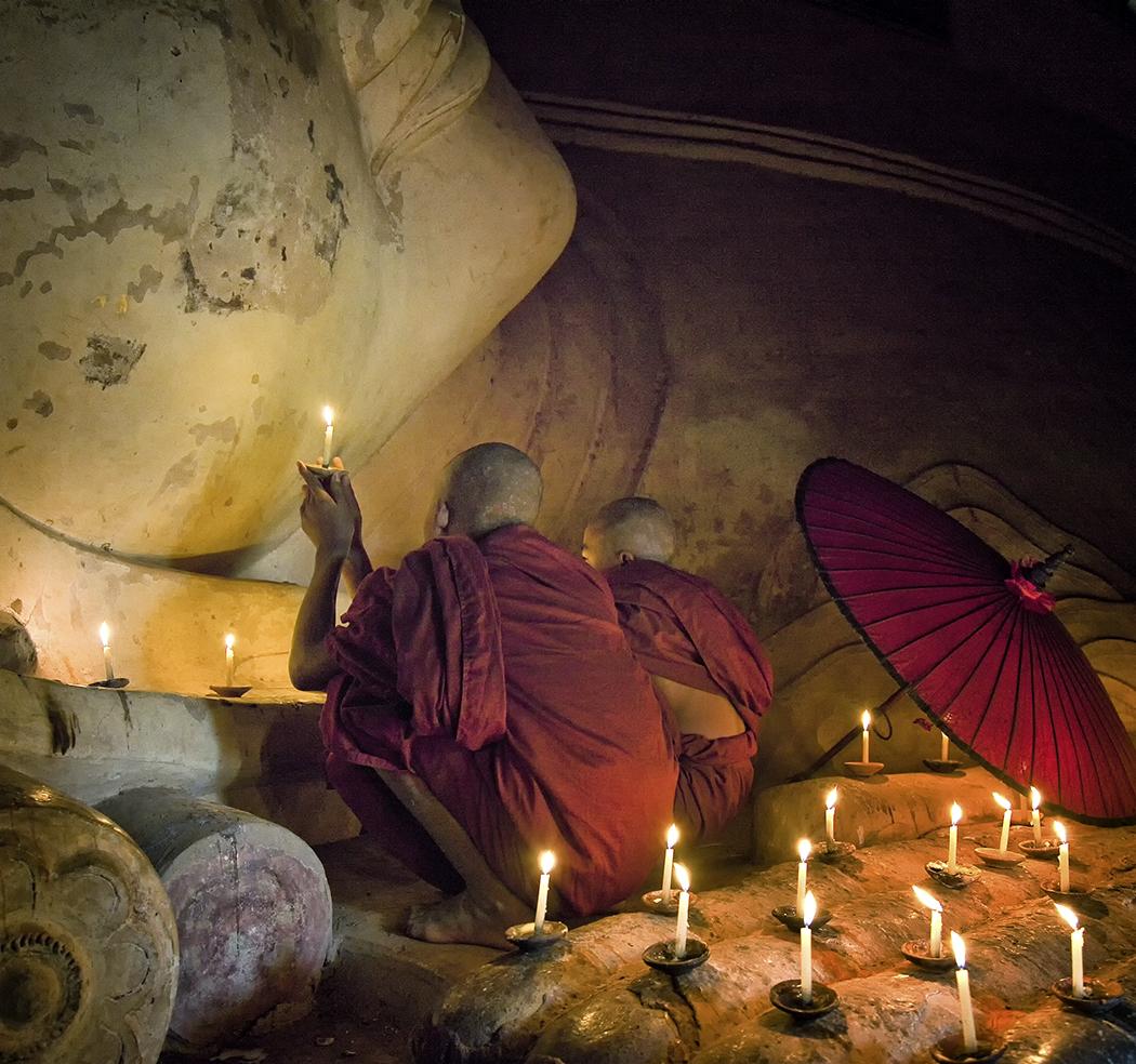 Monks Praying to Buddah