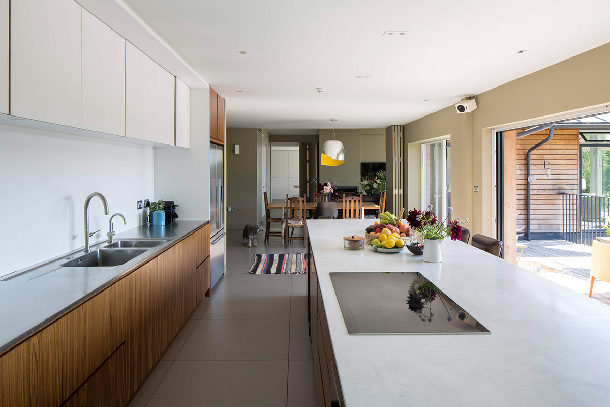 Kitchen of extension and remodelling of large 1970s house Porter Leake House
