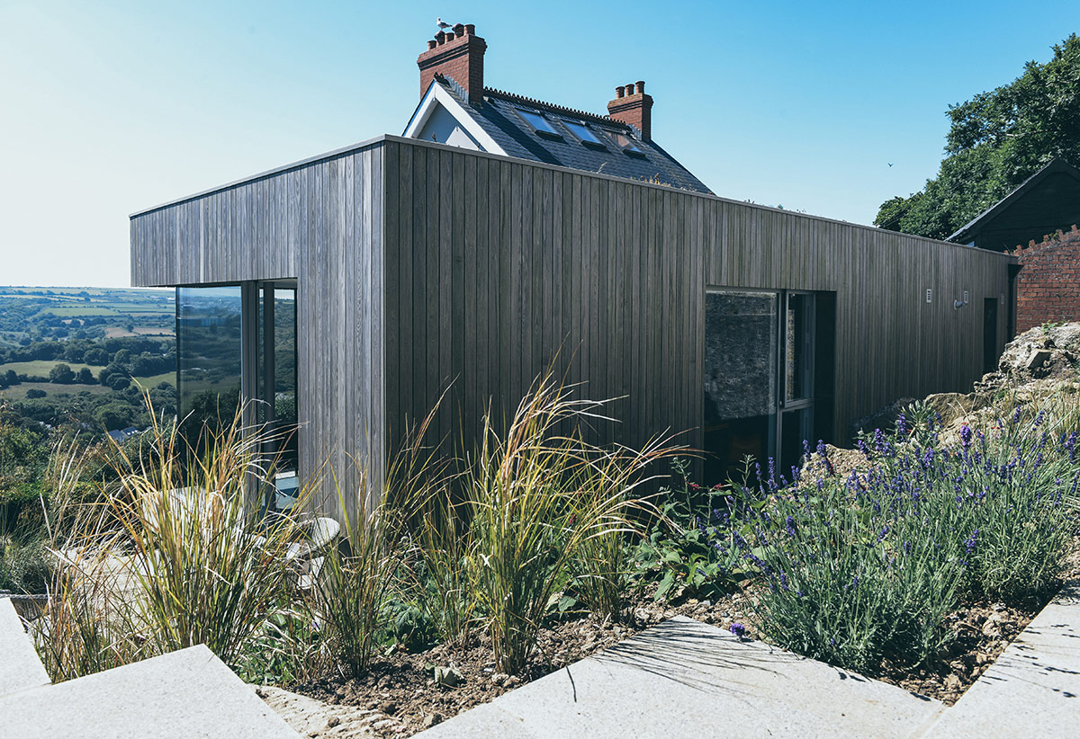 Exterior of garden pavilion extension and renovation of Victorian terraced house Arosfa with countryside views