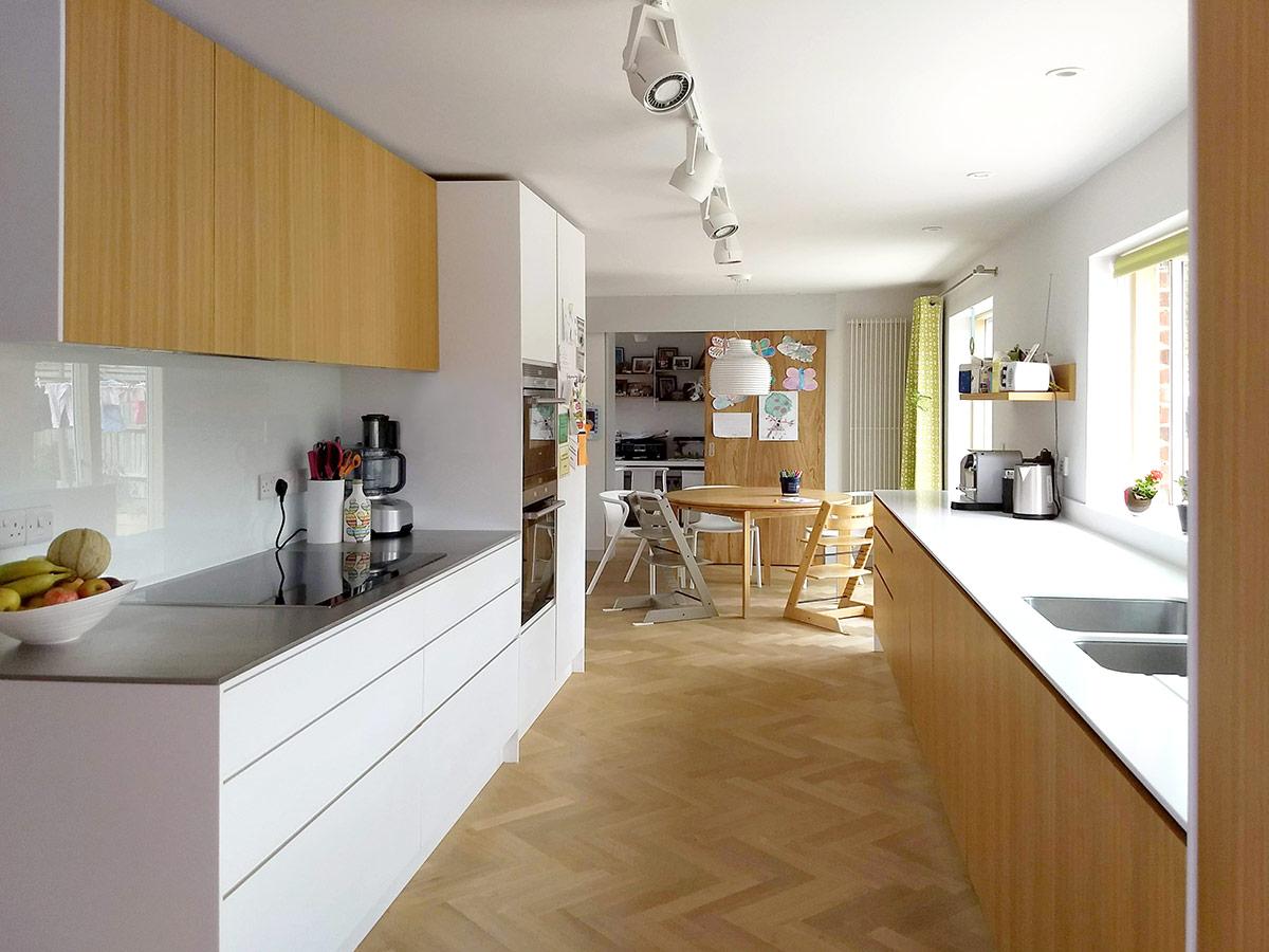 Kitchen of remodelling and refurbishment of a detached 1960s house in Lymington, Hampshire