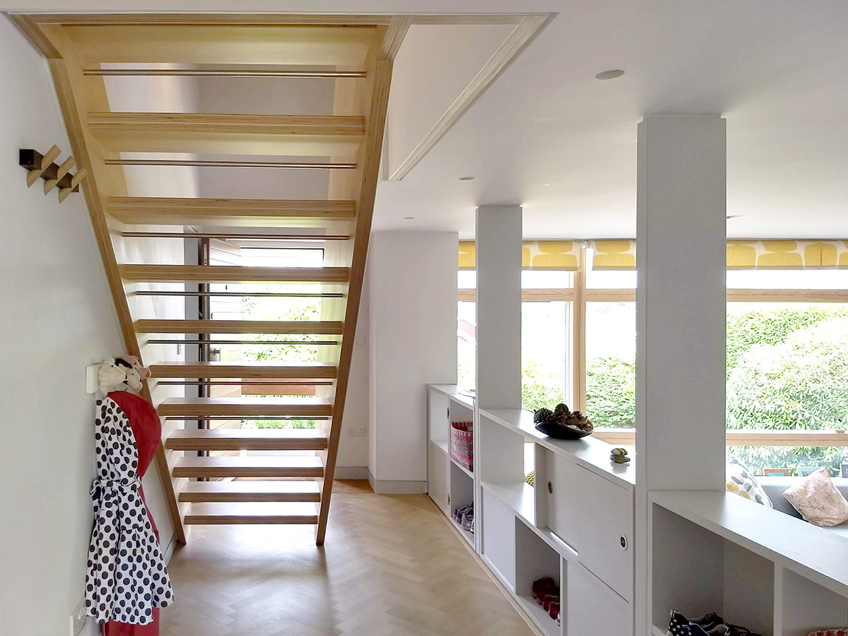 Open plan layout of remodelling and refurbishment of a detached 1960s house in Lymington, Hampshire