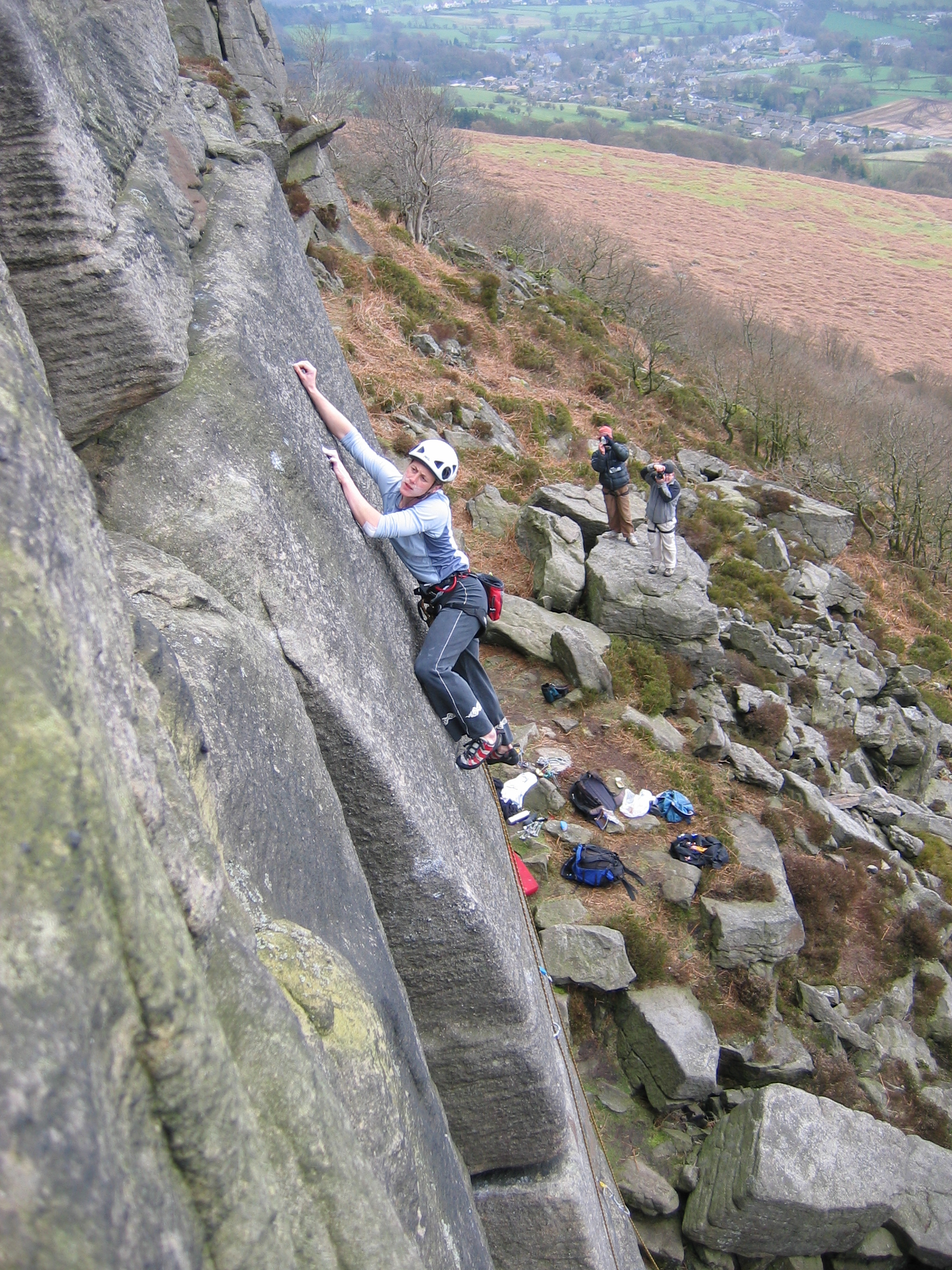 Salmon Left Hand E6 6b, Bamford Peak. I did not trust myself on this route, and I'll just have to sit with that one! This is from just over 15 years ago (!). The day before this photo I'd onsighted two E4s at the crag and was feeling good. I decided to try and onsight this route. Having completed the crux I got to the point here in the photo and froze. For some 20 minutes…. It was getting colder and colder and darker and darker and I couldn't commit. The small crimp that I'm eying up was for me just a couple of centimetres out of reach. I knew I just had to weight that left foot and go dynamically for the top. I couldn't. If only I could have let the body climb! Too concerned that I might fall badly, I asked for a rope. With one hand I tied in and climbed to the top. I had to be content with the headpoint pictured here the next day. And yes I do seem to have chalk all over my cheeks.