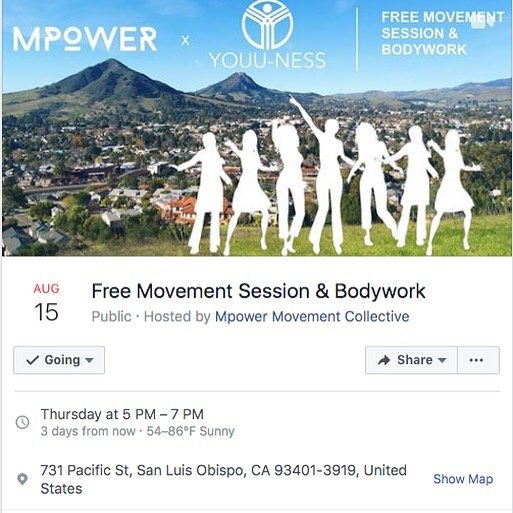 Come enjoy this special FREE event in collaboration with @youunessbodywork supporting connection to the body through bodywork (Tui Na Massage and ART), movement, and live electronic music! #slocounty #shareslo #slolife #sanluisobispo #805 #805community #empoweredbody #massage #massagetherapy #movementismedicine