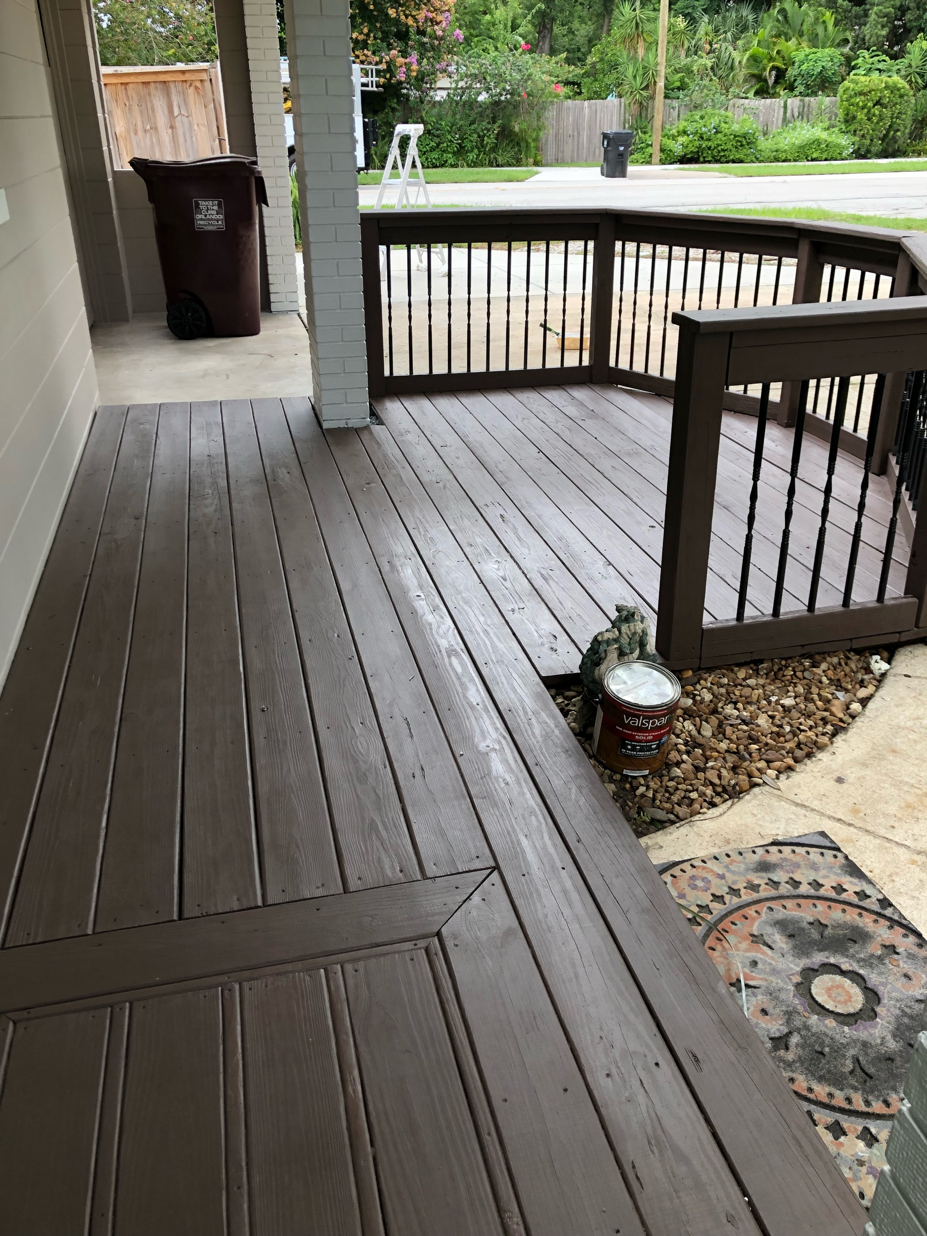 Solid stained wooden deck