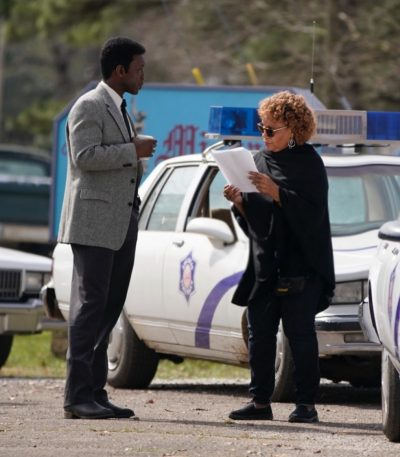 Mahershala Ali on set with Denise Woods for filming of HBO series True Detective season 3.