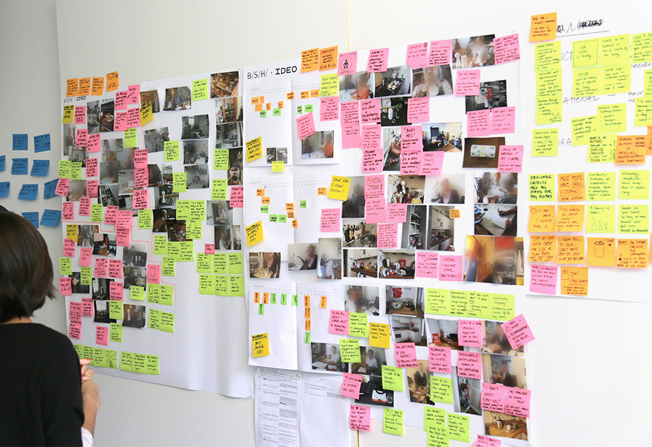 Wall of field research results.
