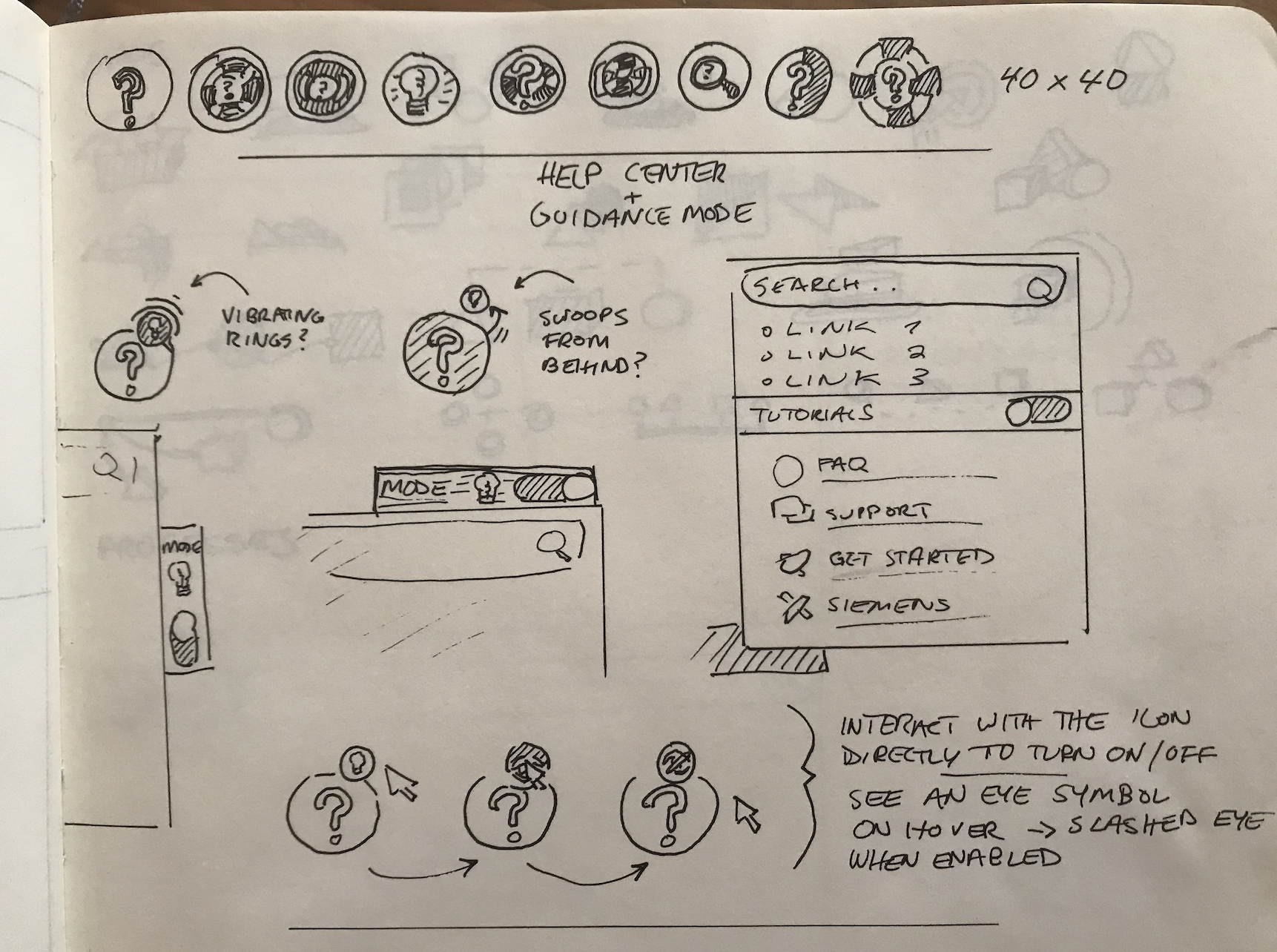 Initial hand-drawn concepts for Help Center.