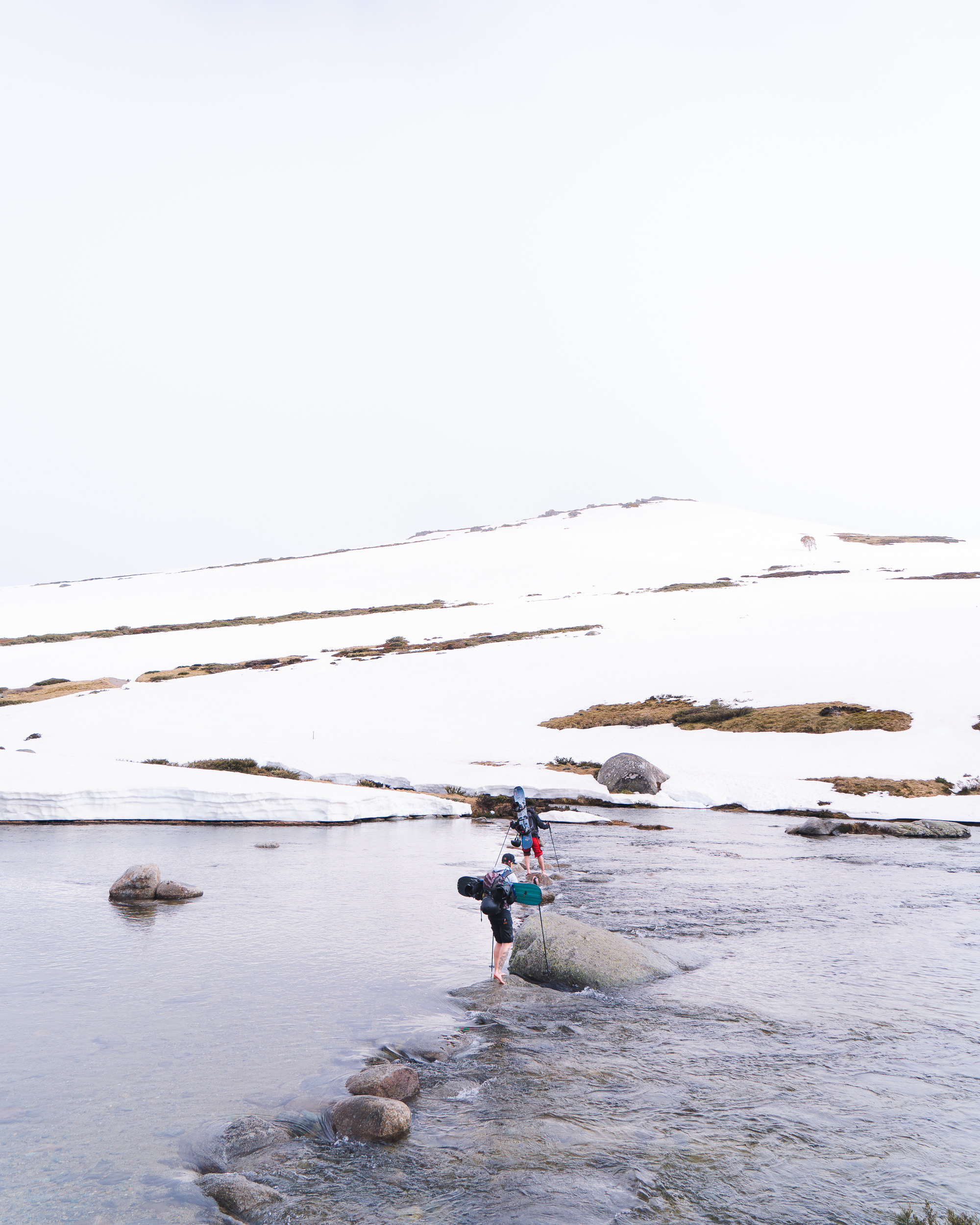 Crossing the Snowy River. Make sure you tie your equipment down well.