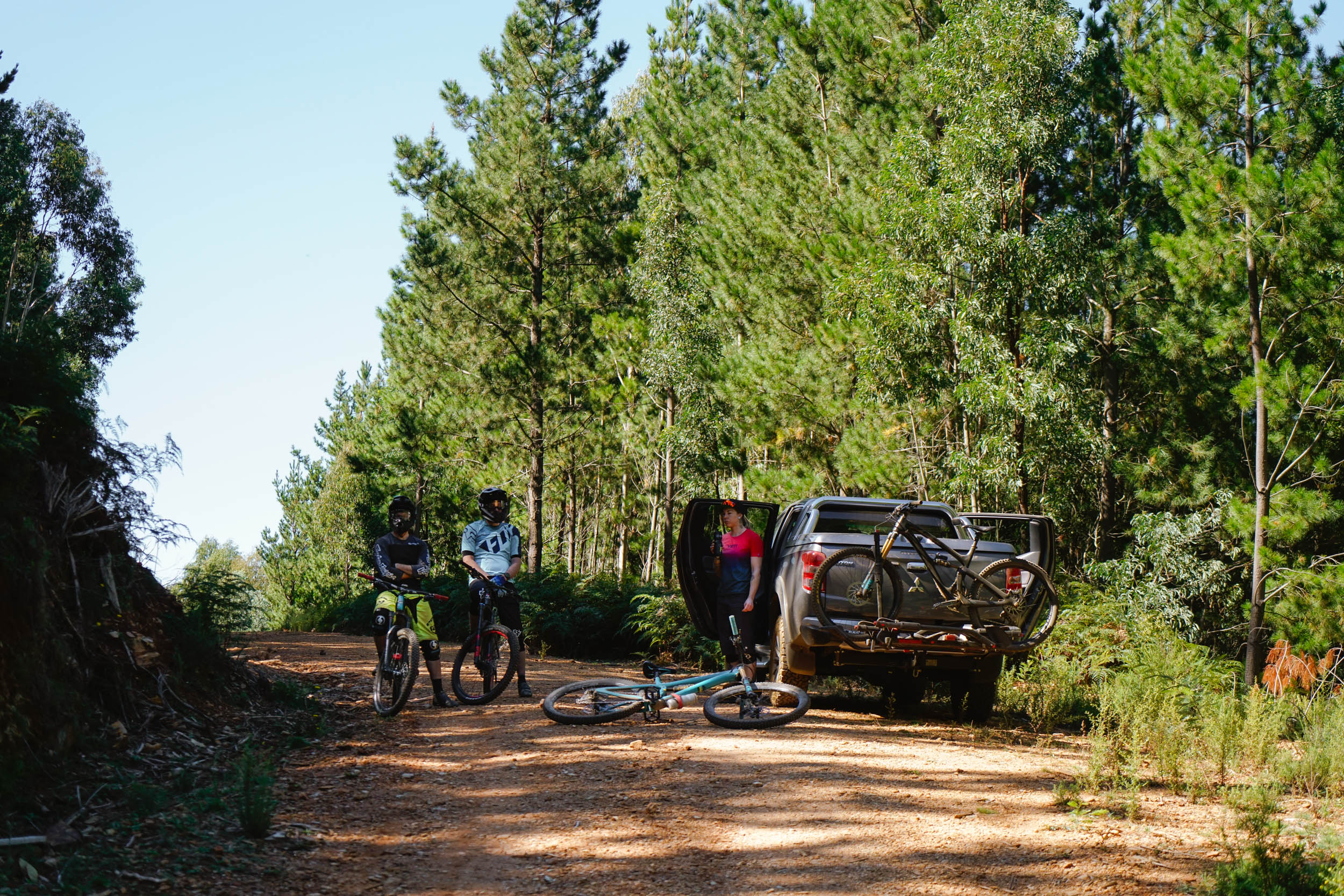 Taking a break at the end of the day with the team. Deep in the pines.