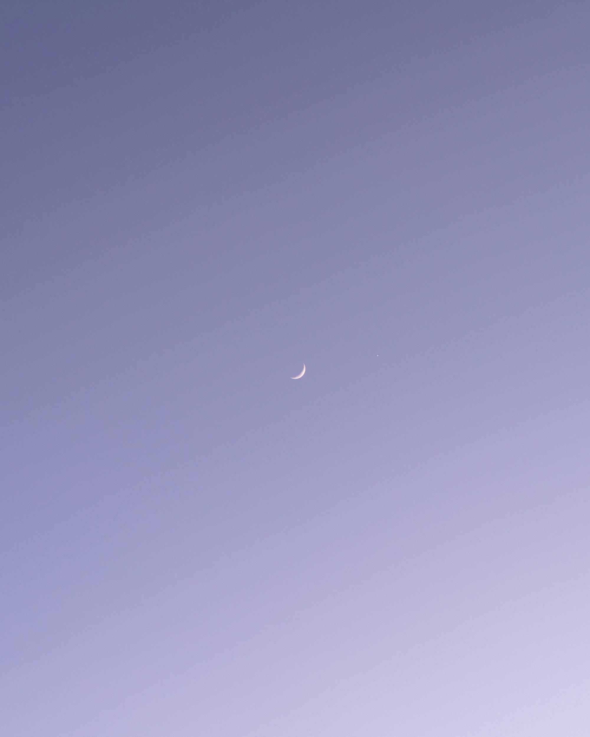 A crescent moon.