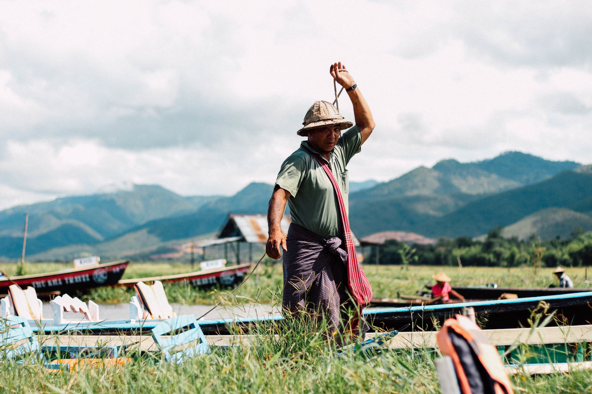 Person in Inle Lake