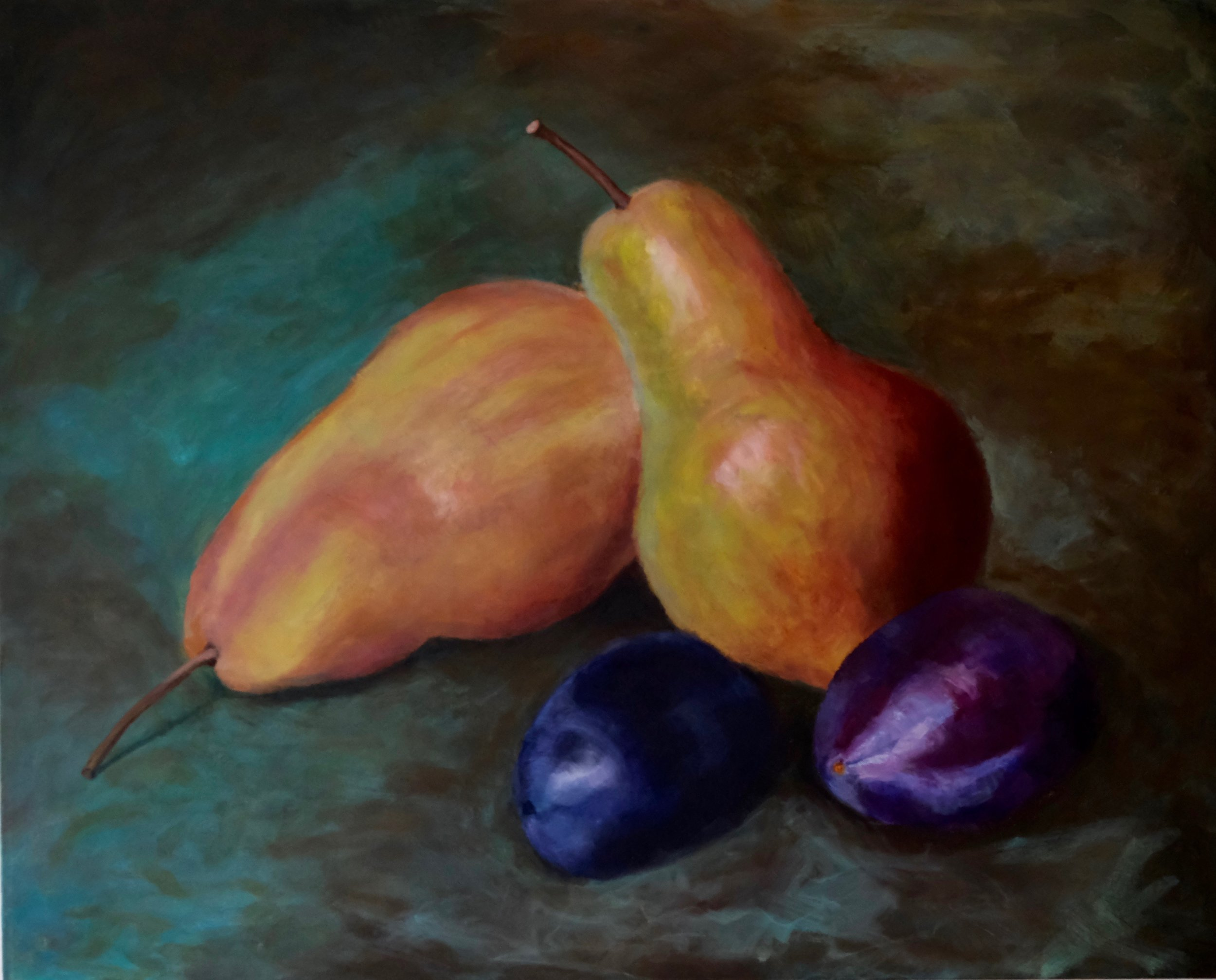 Pears & Plums , 2019, acrylic on canvas, 24x30 inches