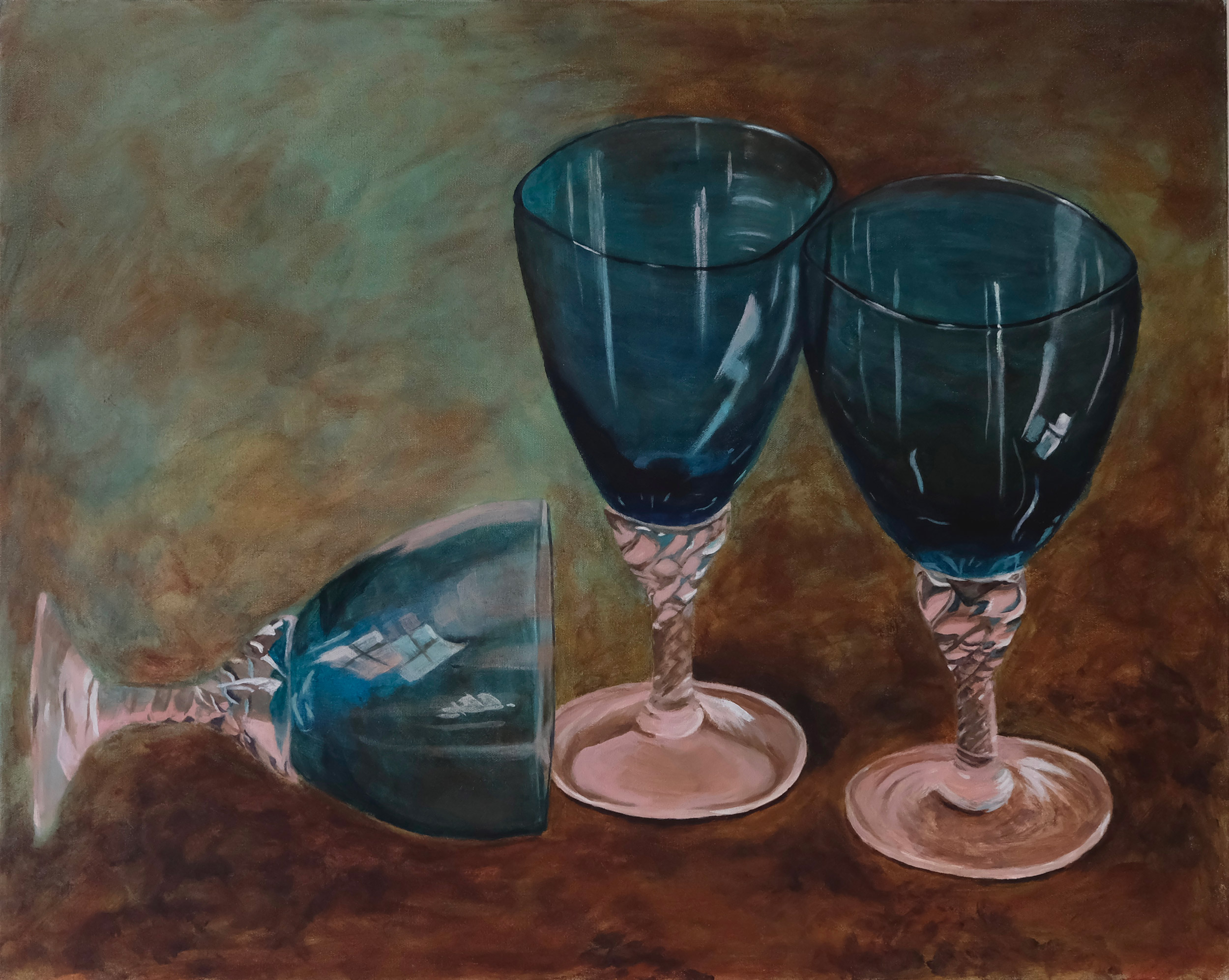 Glasses , 2019, acrylic on canvas, 24x30 inches