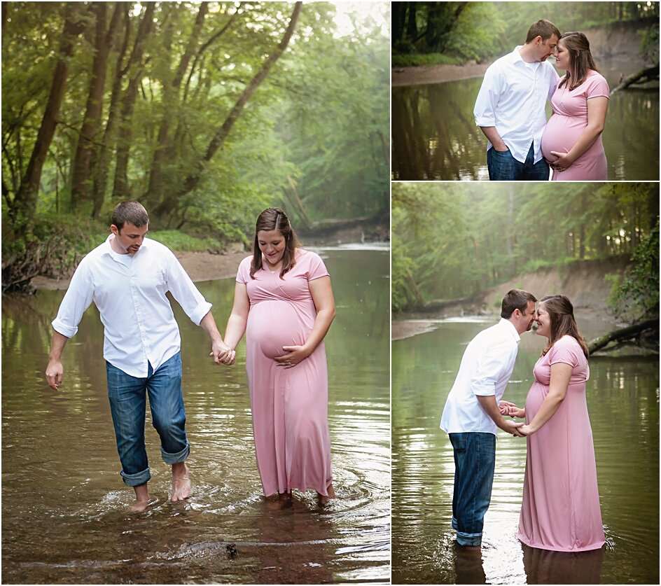 Wading in the creek with your husband provides an extra element of fun during your maternity photo session! This will provide some sweet memories that will bring a smile to both of you when you look at your photos and remember how much fun you had!