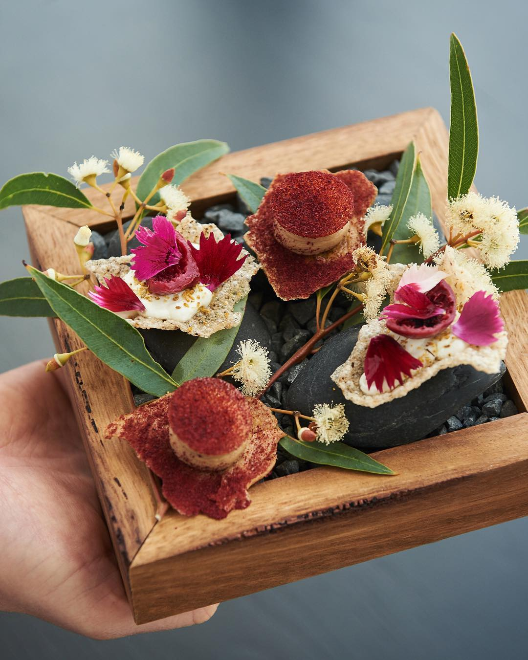 A man holding a wooden plate of roasted chicken skin, liver butter, plum and goat's curd at a Perth fine dining restaurant