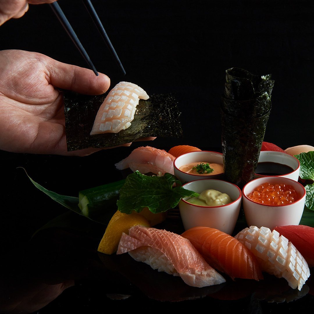 A selection of sashimi with seaweed sheets, wasabi, soy sauce and roe at Nobu Perth