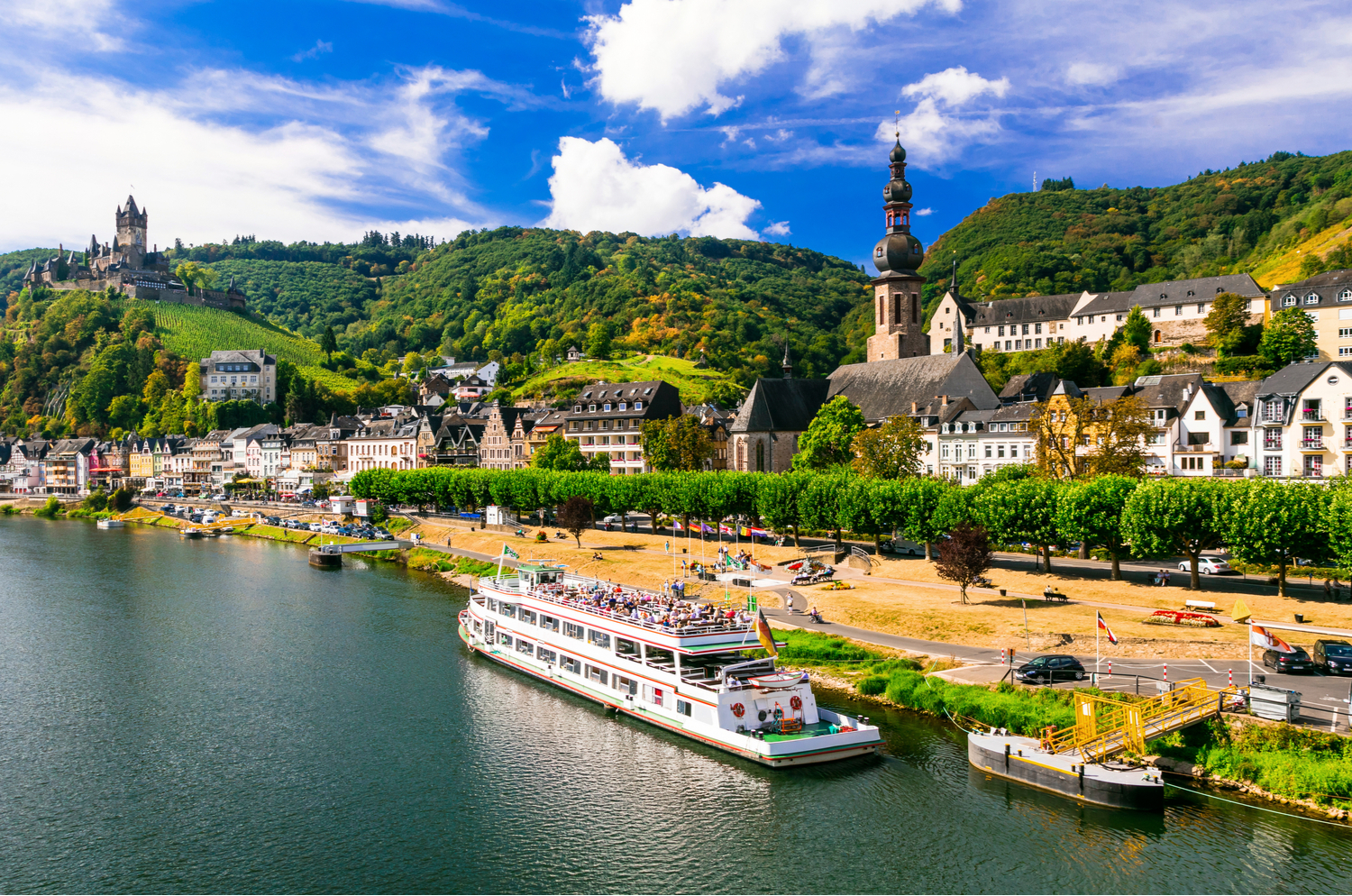 A cruise ship docked at the German town of Cochem on the Rhine