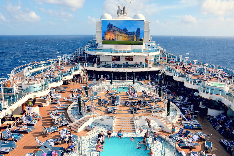 The pool area on board a large cruise ship