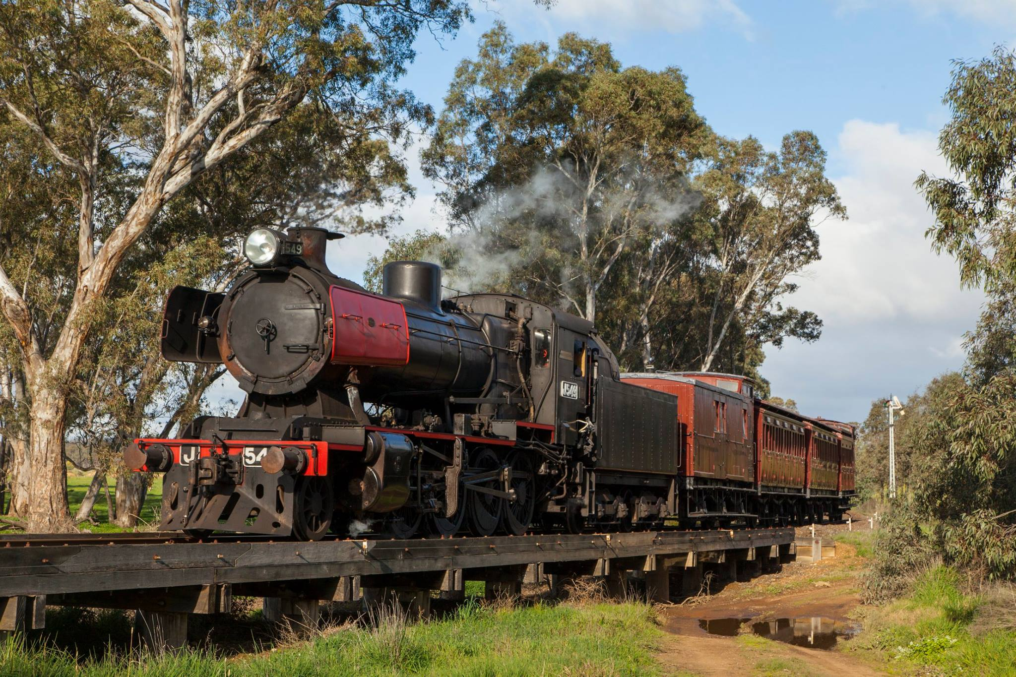 A classic steam train travelling through the Victorian Goldfields