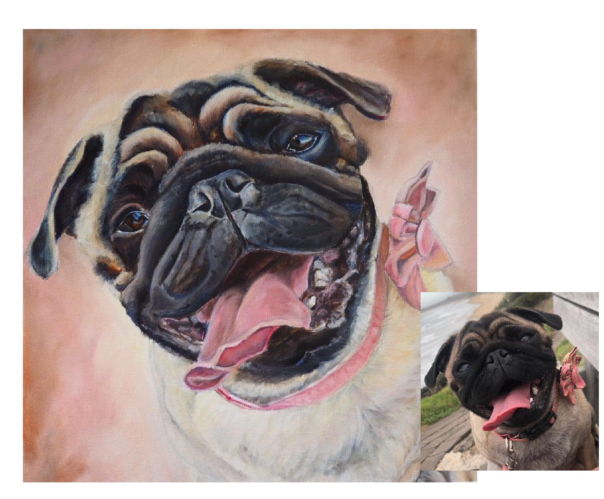 """""""Beyond Amazing! I can't believe how much it looks like Tilly"""" - Commissioned by Hayley for her MumAcrylic and oil on canvas- 18"""" x 18""""Bellingen, NSW, Australia"""