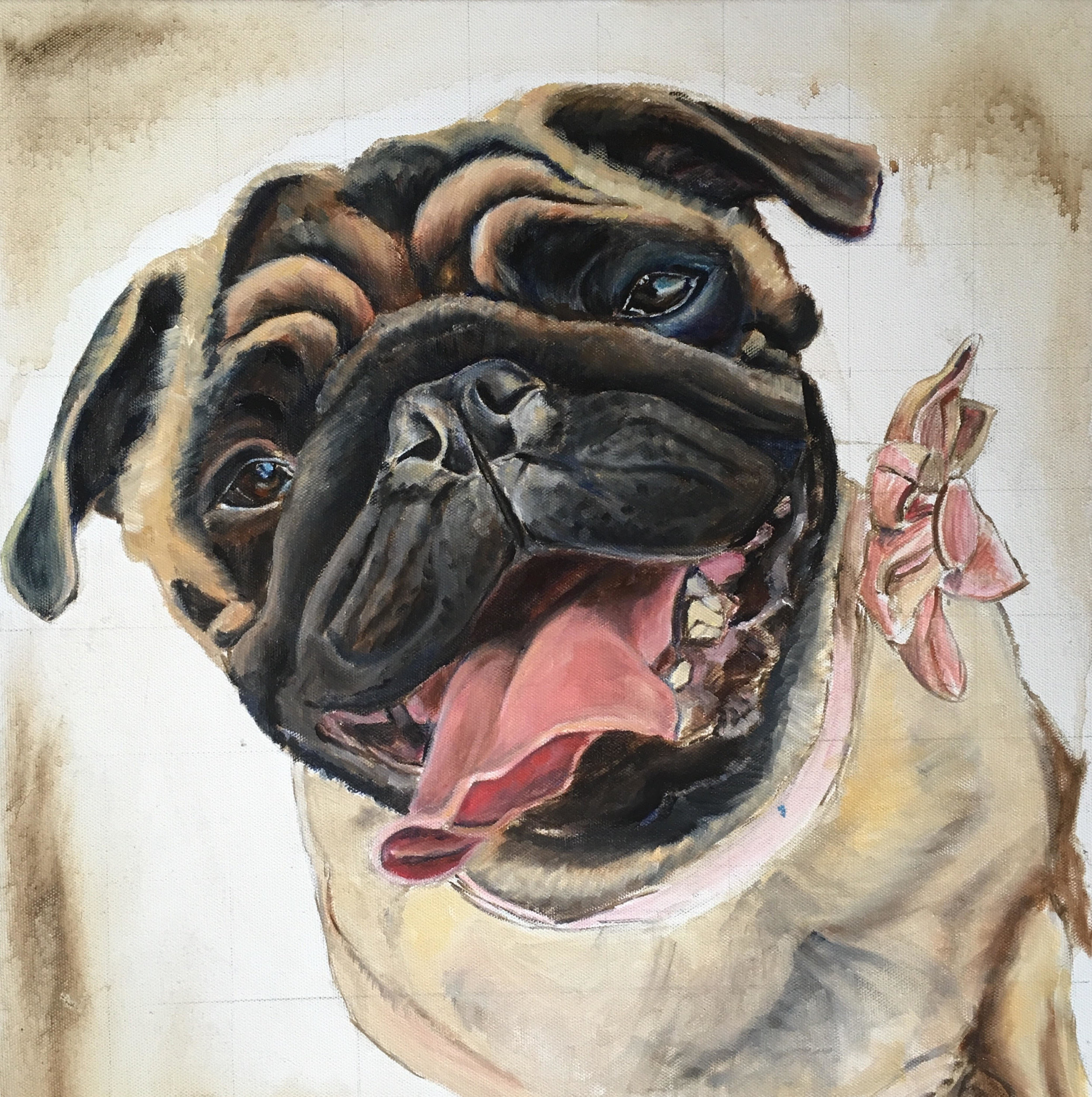 DOG CUSTOM PORTRAIT OF PUG UNDERPAINTING BY OPAL PASTRO ART