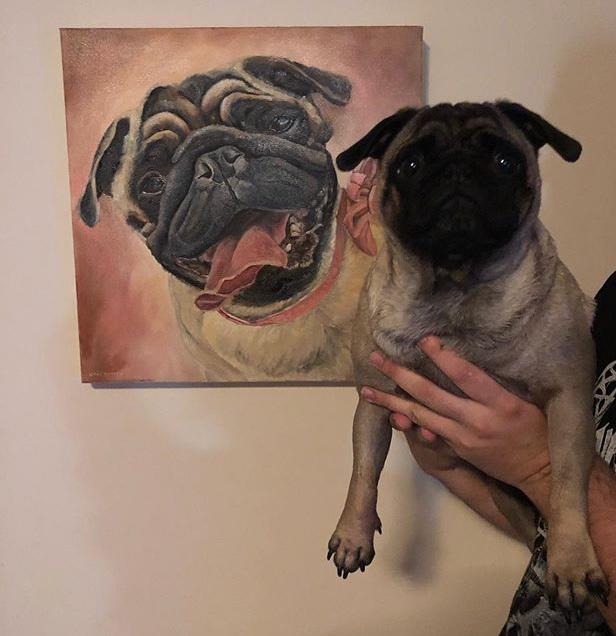 DOG PORTRAIT COMMISSION. TILLY THE PUG AND PORTRAIT BY OPAL PASTRO ART