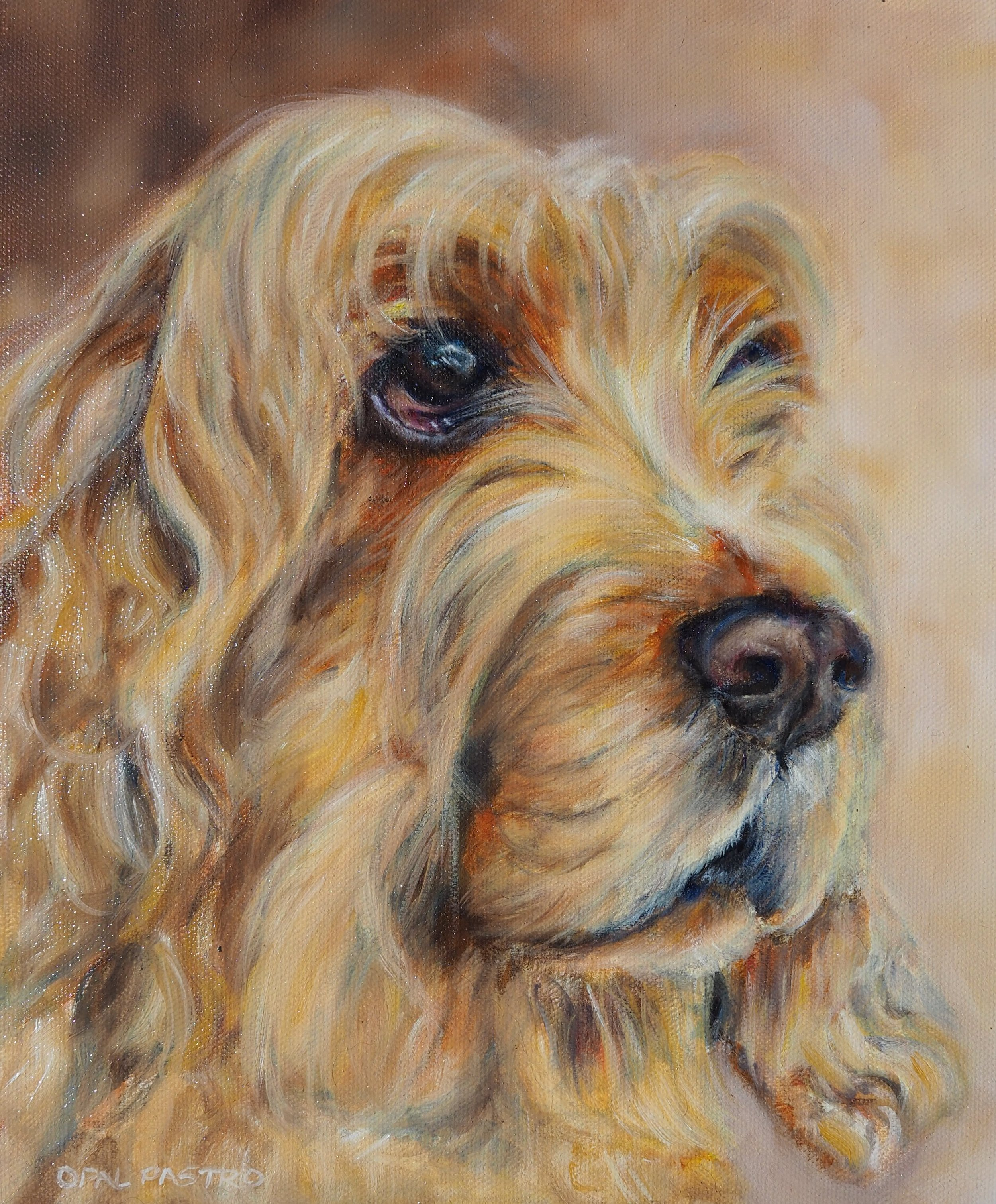 DOG PAINTING OF LUCY THE COCKER SPANIEL BY OPAL PASTRO ART