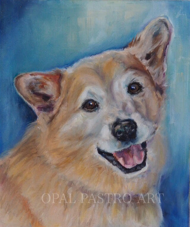 DOG MEMORIAL PAINTING OF CORGI NAMED BASIL PAINTED BY AUSTRALIAN ARTIST OPAL PASTRO ART