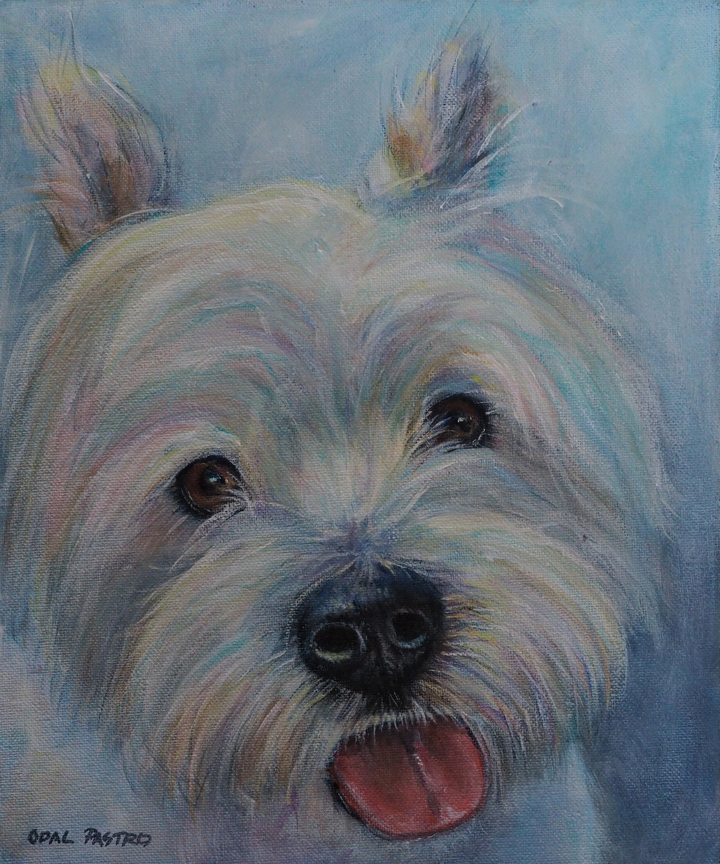 WESTIE DOG PORTRAIT WHITE AND BLUE BY OPAL PASTRO ART