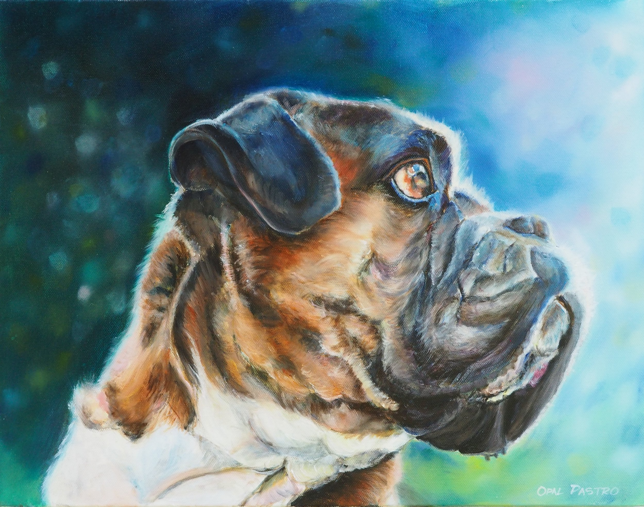 BOXER DOG CUSTOM PAINTING  WITH DAPPLED BACKGROUND BY AUSTRALIAN ARTIST OPAL PASTRO ART