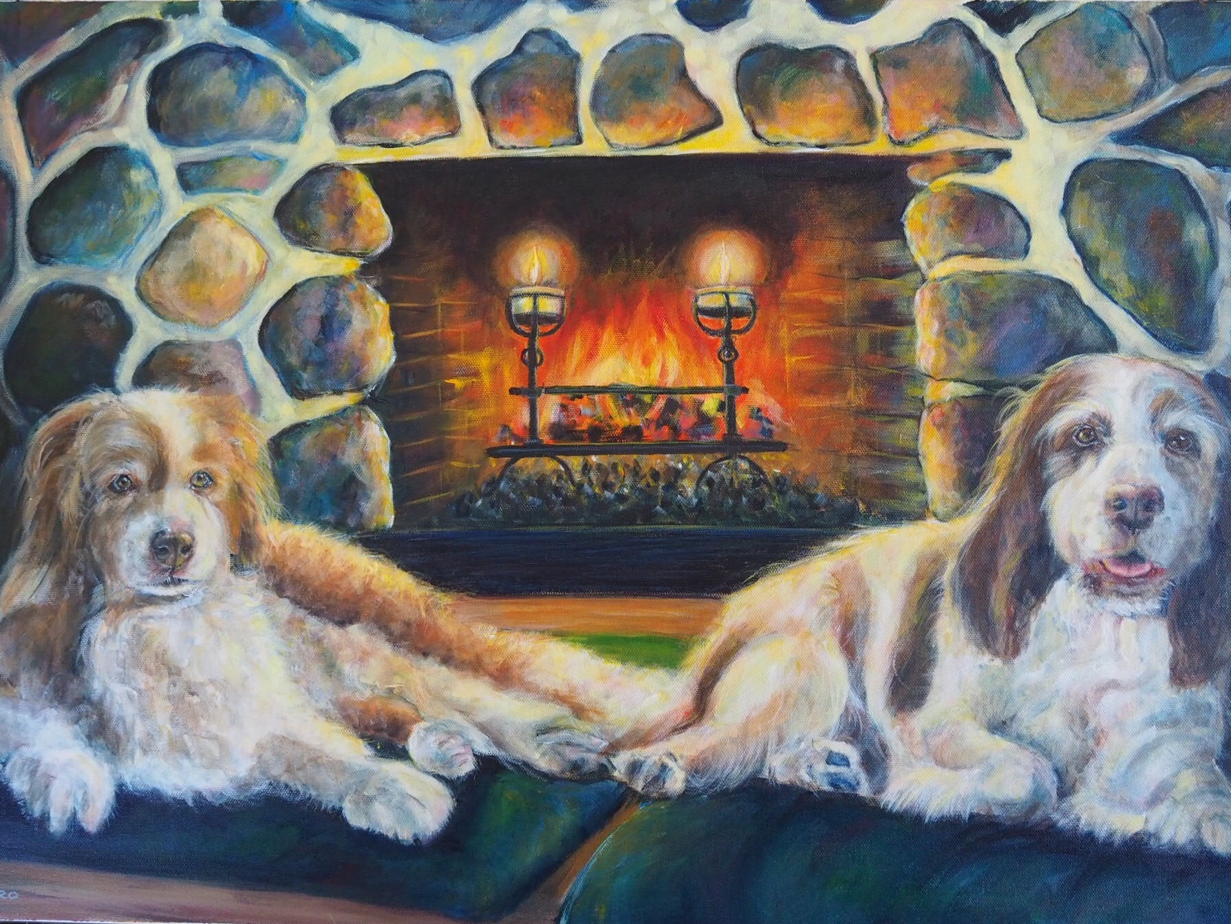 DOGS AND FIREPLACE PAINTING. CUSTOM HANDPAINTED PORTRAIT BY OPAL PASTRO ART
