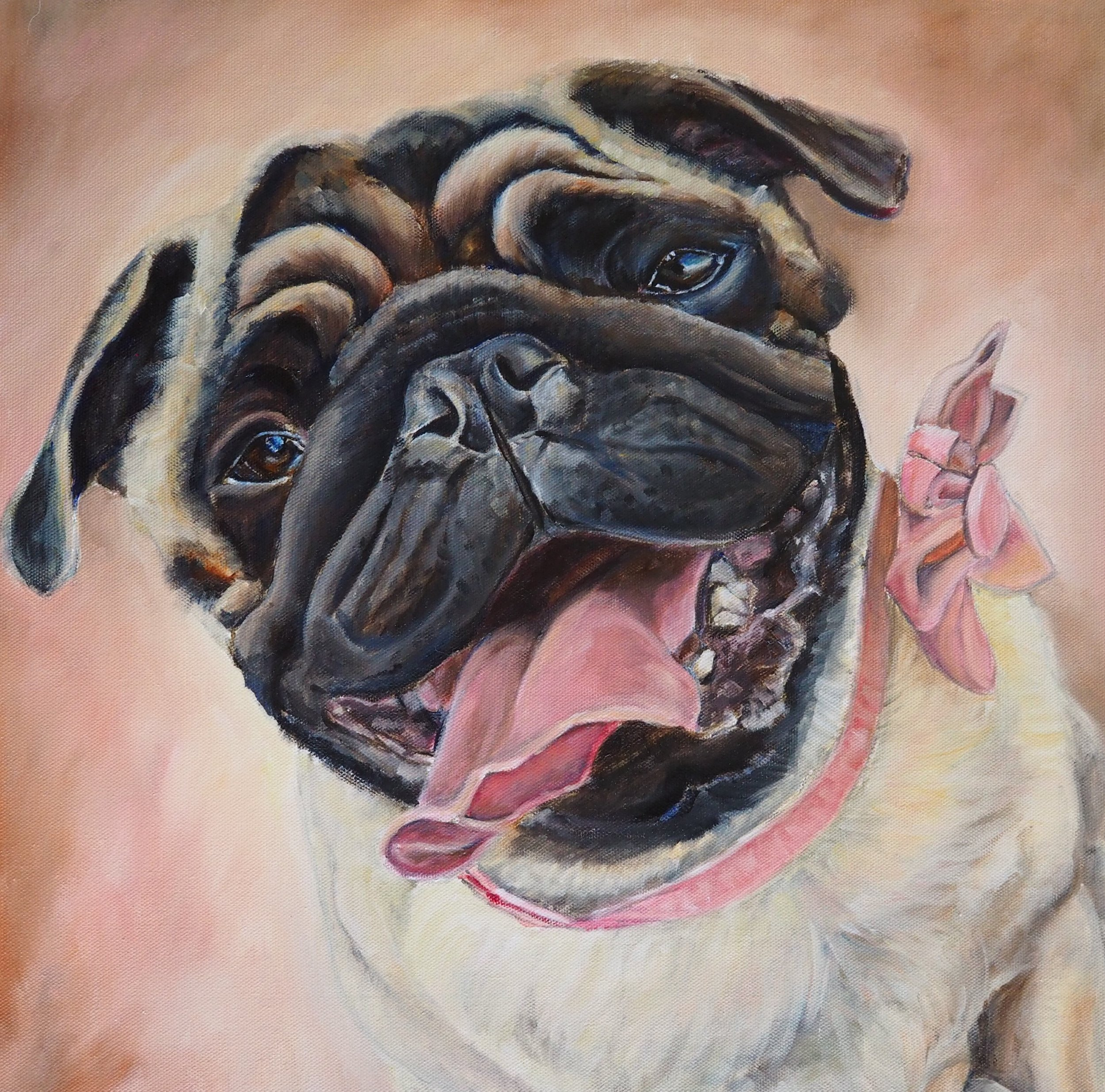 DOG PAINTING OF SMILING PUG HAND PAINTED FROM PHOTO BY  ARTIST OPAL PASTRO ART