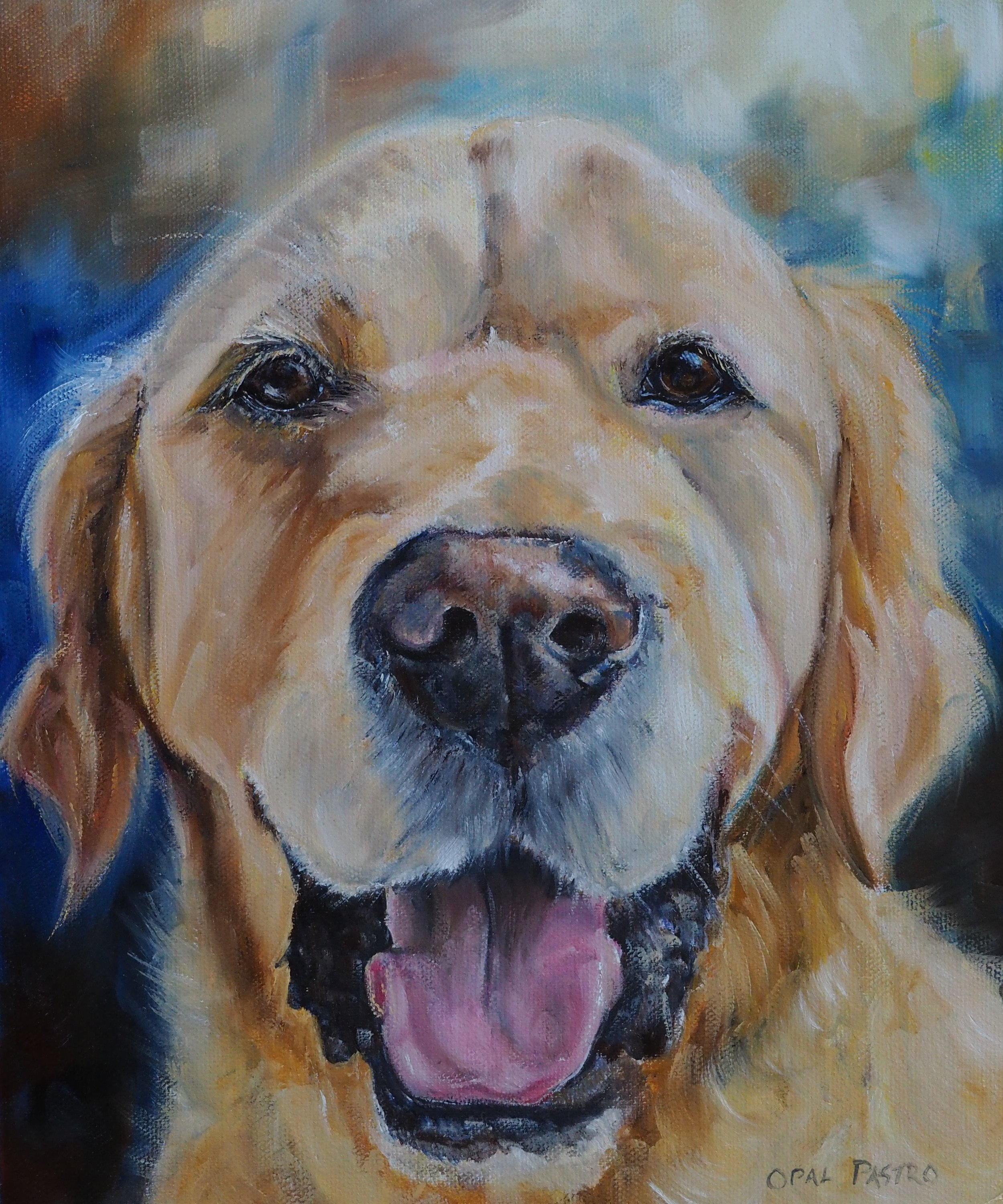 DOG PAINTING OF SMILING GOLDEN RETRIEVER BY OPAL PASTRO ART