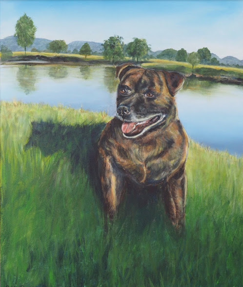 DOG PAINTING OF STAFFY AT RIVER BY OPAL PASTRO ART