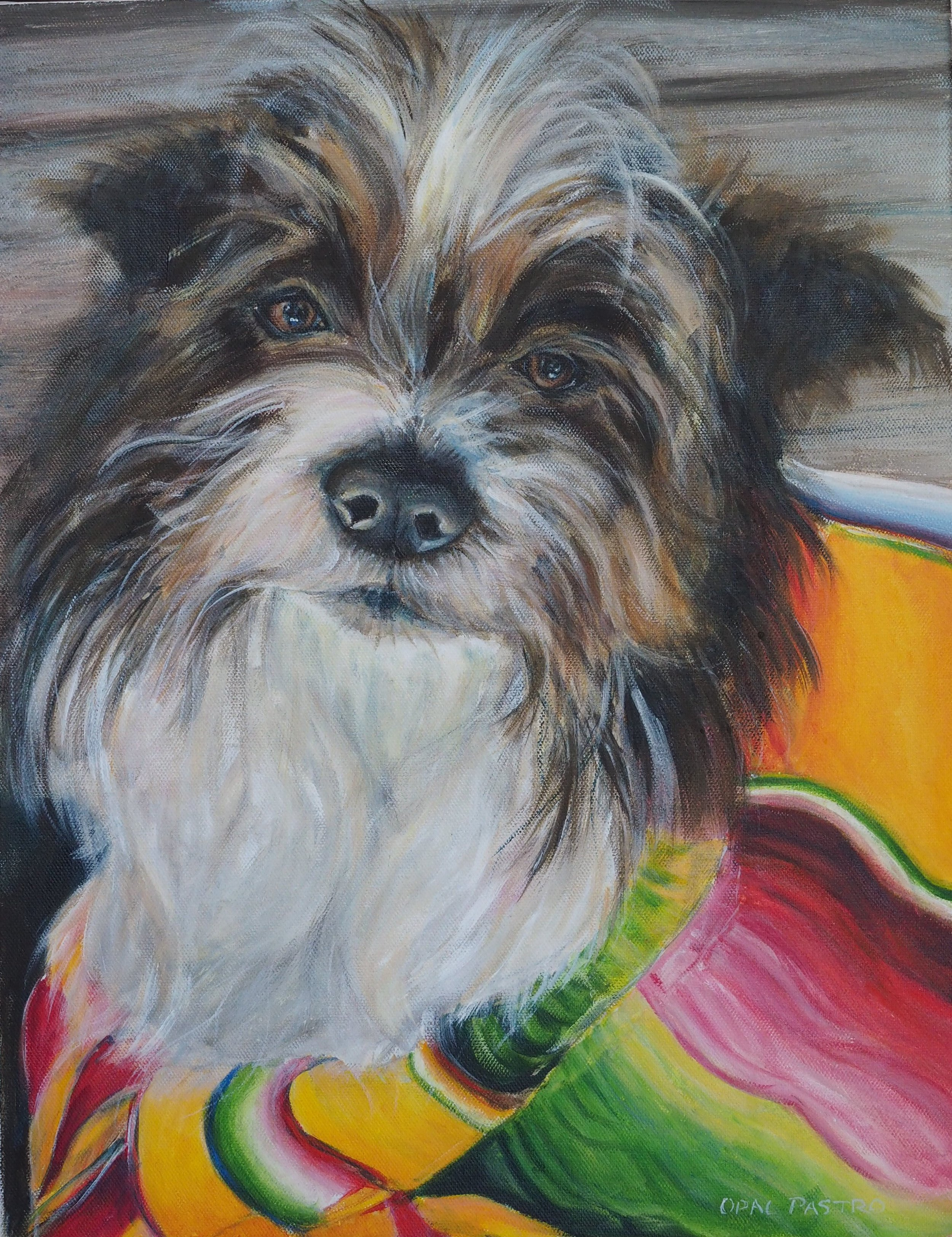 DOG MEMORIAL ART OF TERRIER MIX WITH COLOURFUL BLANKET BY OPAL PASTRO ART