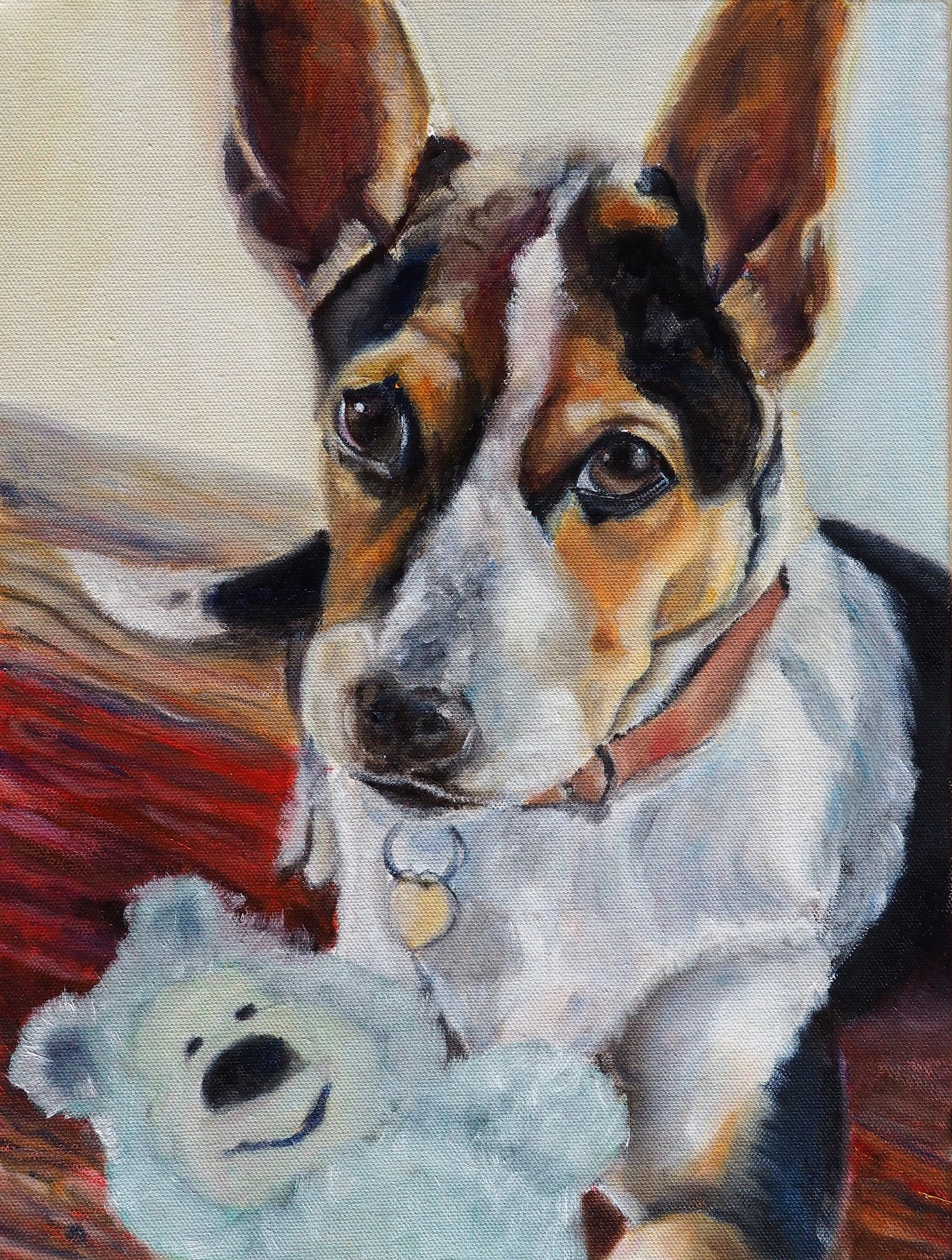 DOG PAINTING OF PUP AND TEDDY BY OPAL PASTRO ART
