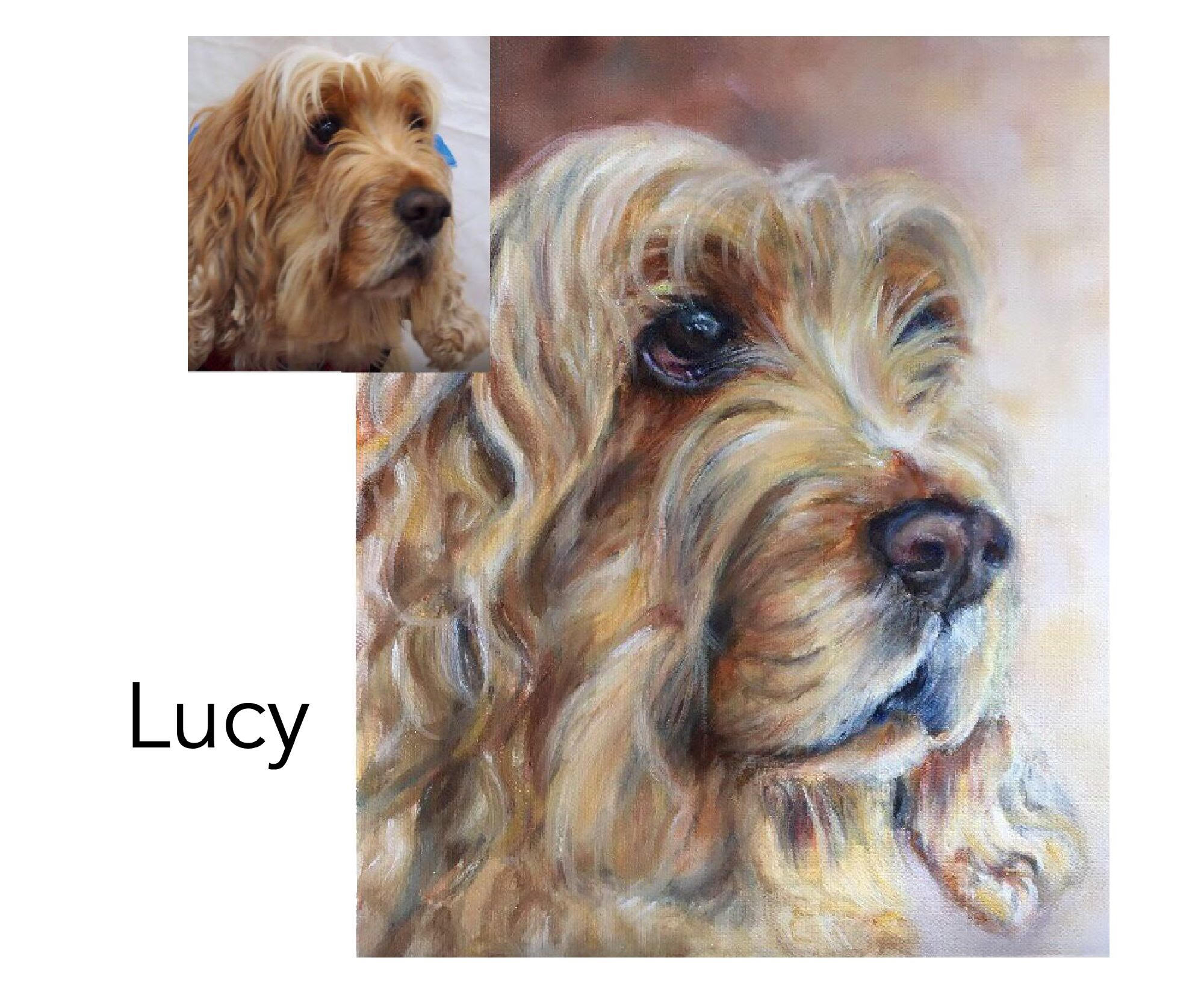 """Cocker Spaniel - Acrylic and oil on canvas 10"""" x 12"""" (25.4cm x 30.48cm)Private commissionCoffs Harbour, NSW—————————————-Lucy is very gentle and loving to her Mum. She has a weak heart so is extra special."""