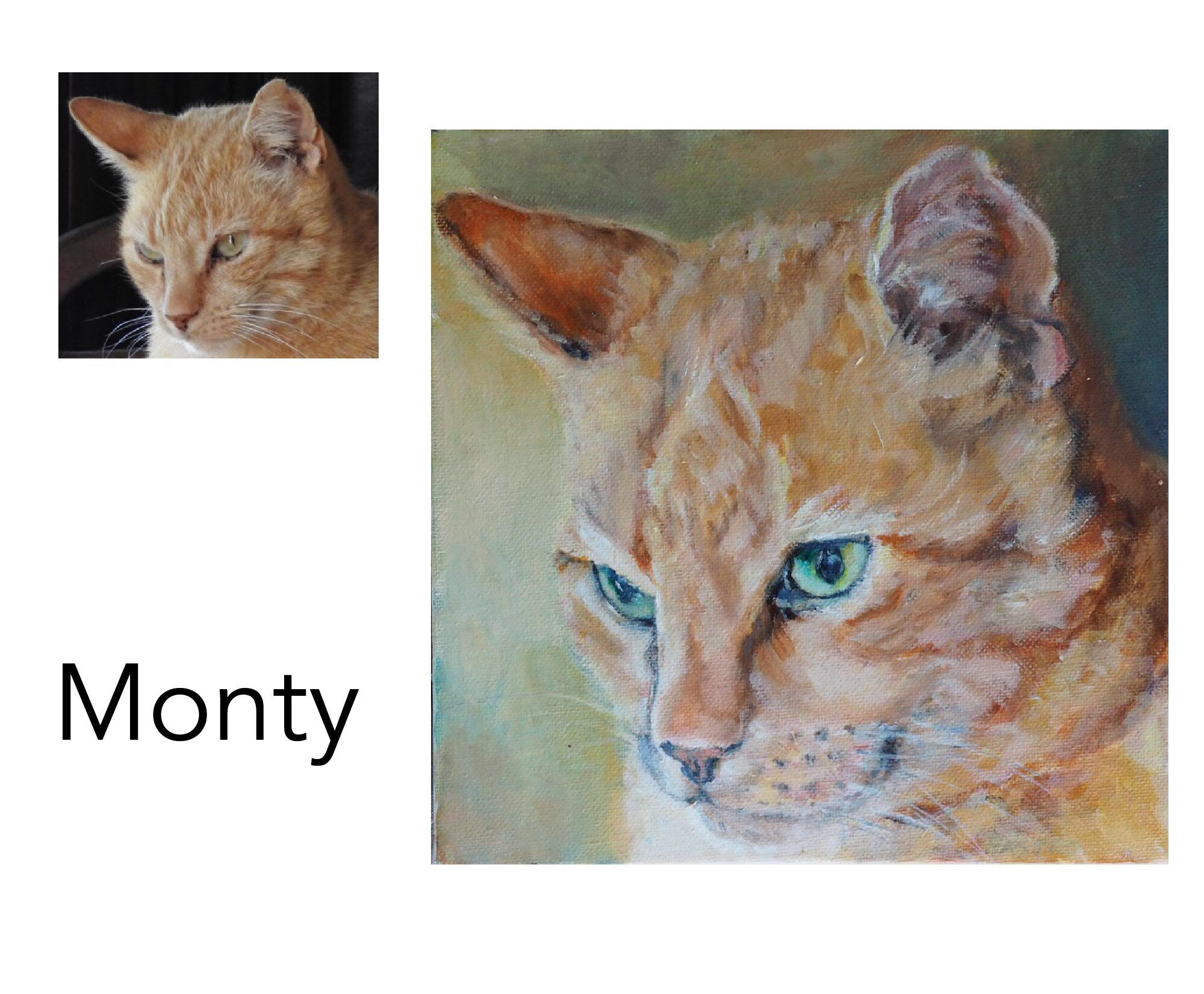 Domestic Ginger Tabby - Acrylic and oil on canvas 8' x 8' (20.32cm x 20.32cm)Artist's private collectionBellingen, NSW————————————Monty is a lovely affectionate boy who loves cuddles, milk, ratting and harassing the dog!