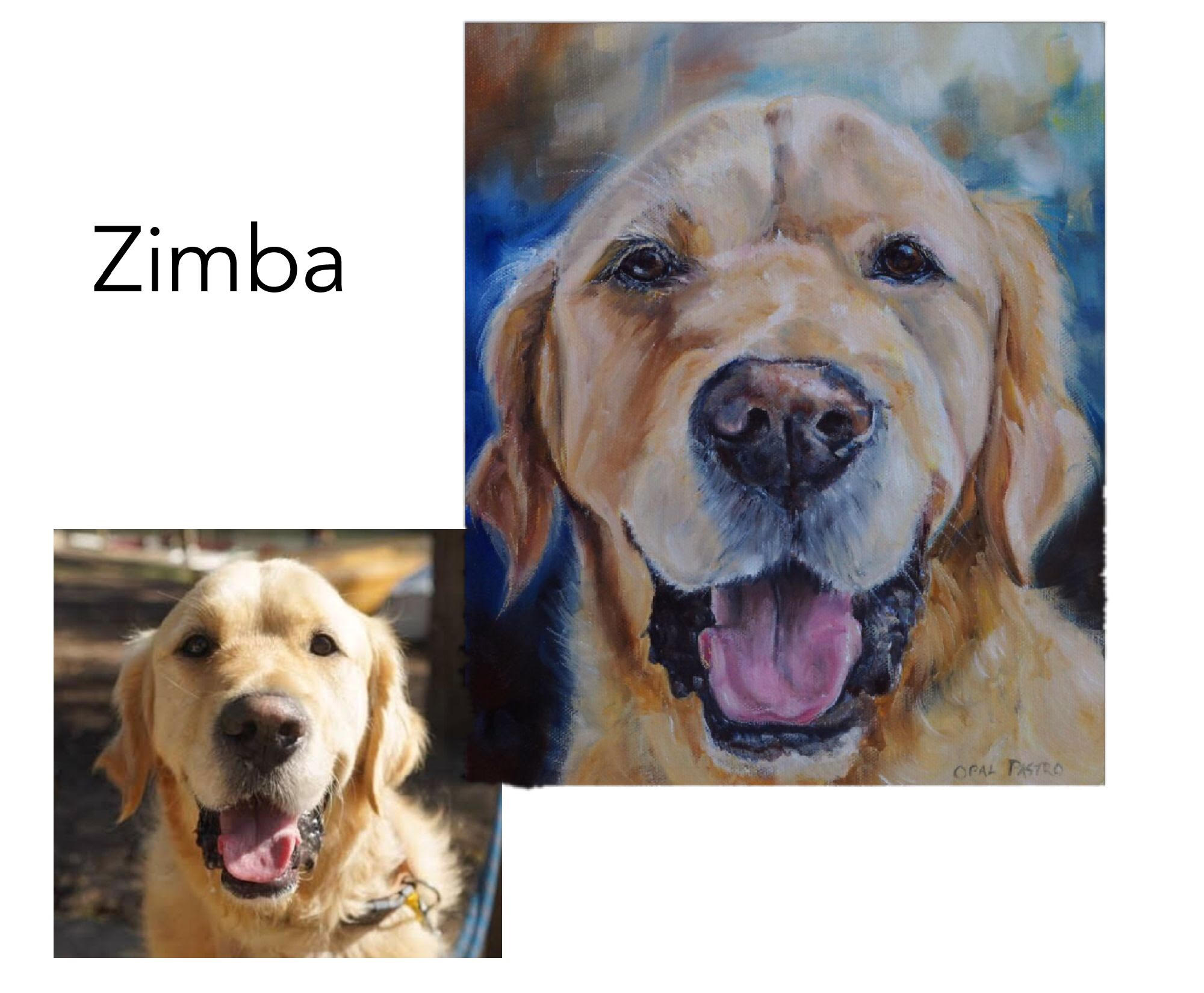 """Golden Retriever - Acrylic and oil on canvas 10"""" x 12"""" (25.4cm x 30.48cm)Private commissionMelbourne, Vic—————————————-Zimba was commissioned as a Christmas gift for his Mum. He is a gentle lovable giant who loves to give hugs. He was named after his mum's homeland in Zimbabwe"""