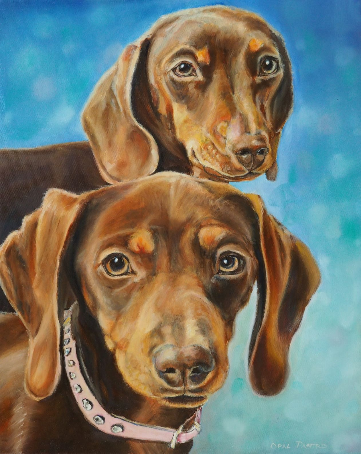 DOG PAINTING OF TWO DACHSHUNDS WITH BLUE BACKGROUND BY OPAL PASTRO ART