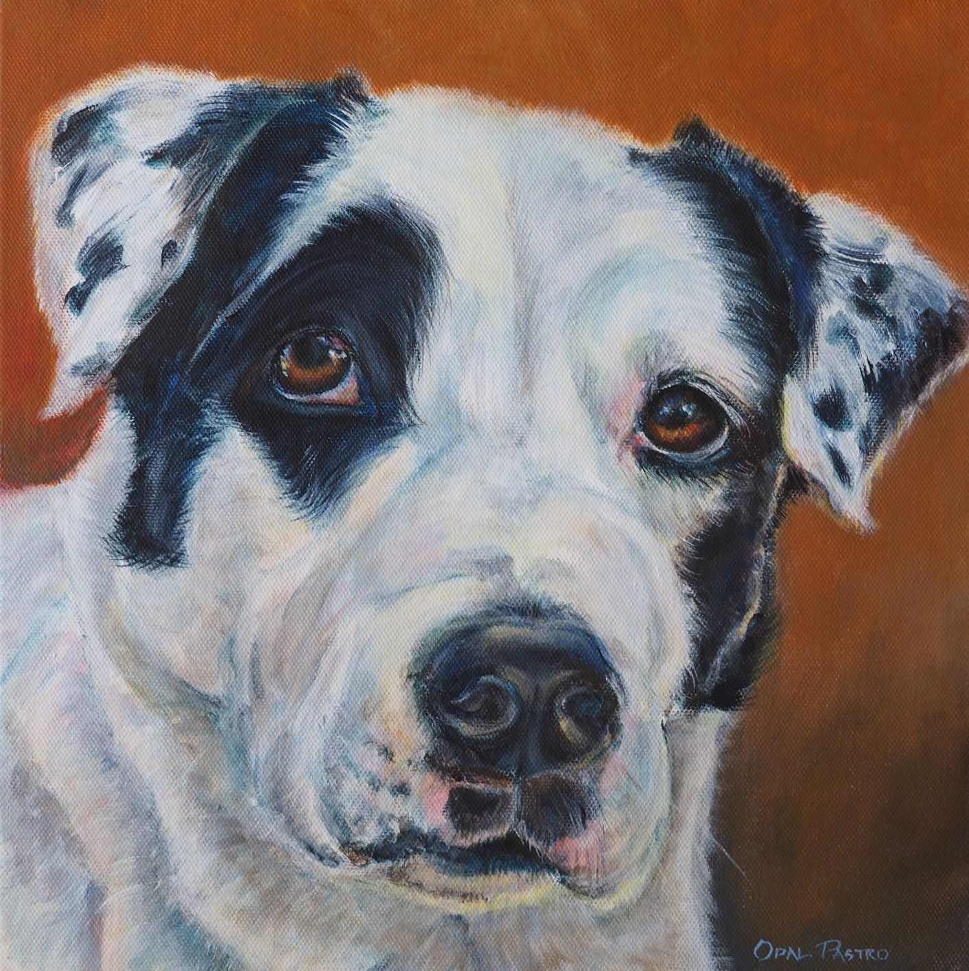 BLACK AND WHITE DOG PAINTING OF NELSON CUSTOM PORTRAIT BY OPAL PASTRO ART