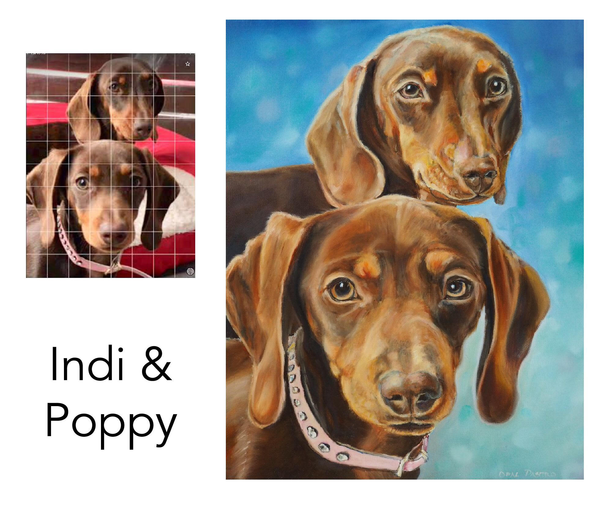 Dachshound - Indi and Poppy are kennel mates who are the delight of their mama. Their Grandma commissioned me to paint their custom portrait as a Christmas gift. Mama's favourite colour is blue - hense the lovely dappled background.