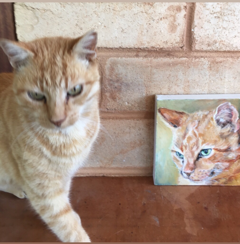 CAT WITH PORTRAIT GINGER TABBY BY OPAL PASTRO ART