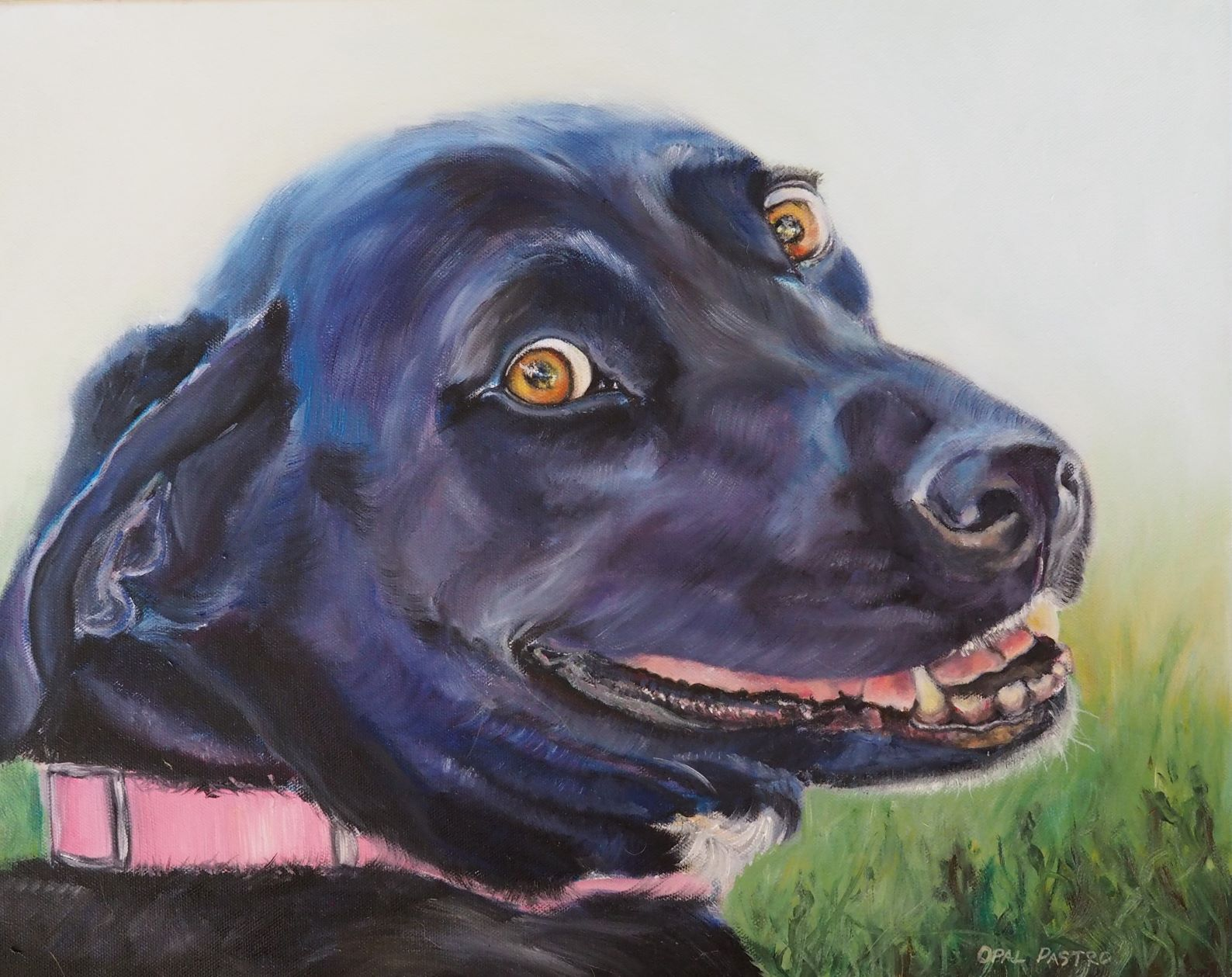 dog-painting-black-smiling-pink-collar-opal-pastro-art.JPG