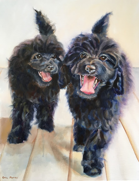 DOG PAINTING TOY POODLE SIBLINGS BY OPAL PASTRO ART