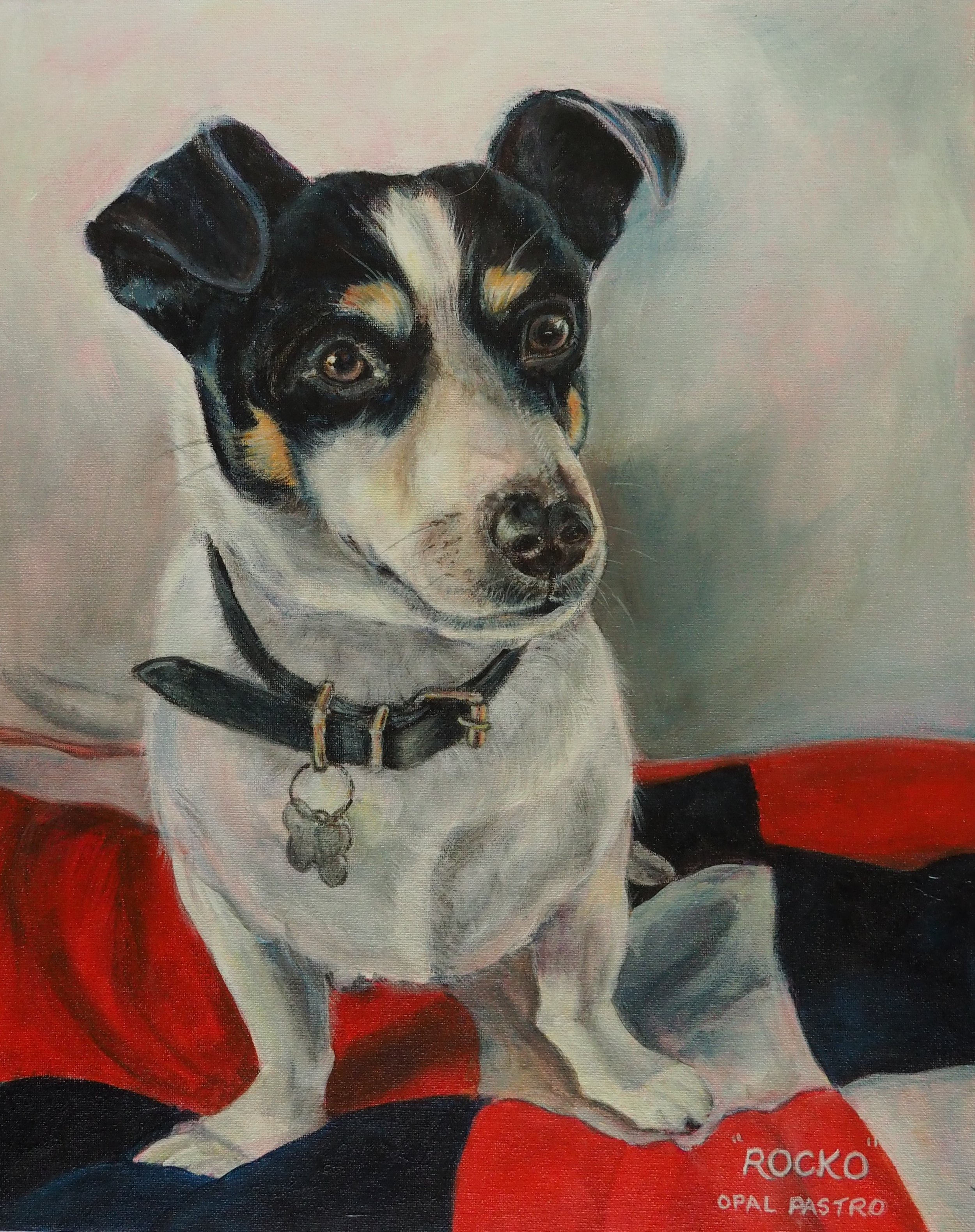 DOG PORTRAIT OF BLACK AND WHITE FOXIE MIC WITH RED BLANKET BY OPAL PASTRO ART