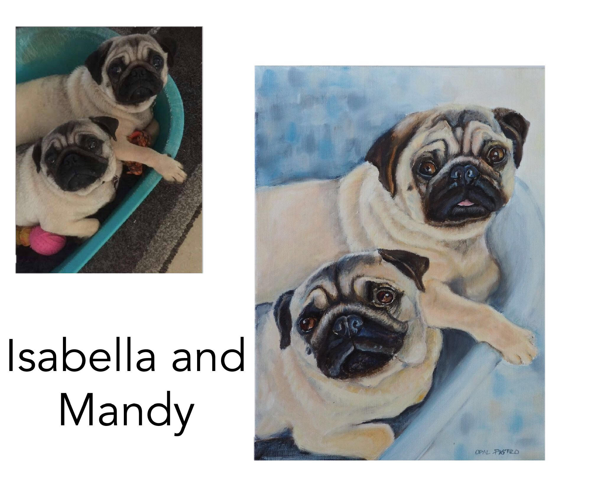 "Pug - Acrylic and oil on canvas 12"" x 16"" (30.48cm x 40.64cm)Private commission Griffith, NSW———————————Sisters Isabella and Mandy are cute as a button and cheeky as pugs can be. They were painted as a gift for their doting dad."