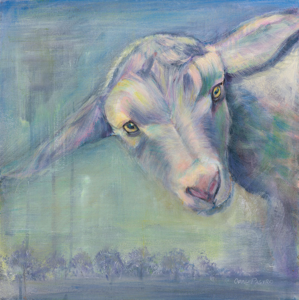 GOAT PAINTING OF WHITE GOAT IN BLUE BACKGROUND BY OPAL PASTRO ART
